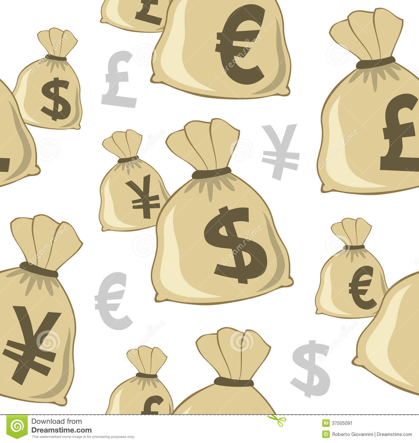 De Munten Naadloos Patroon van de geldzak