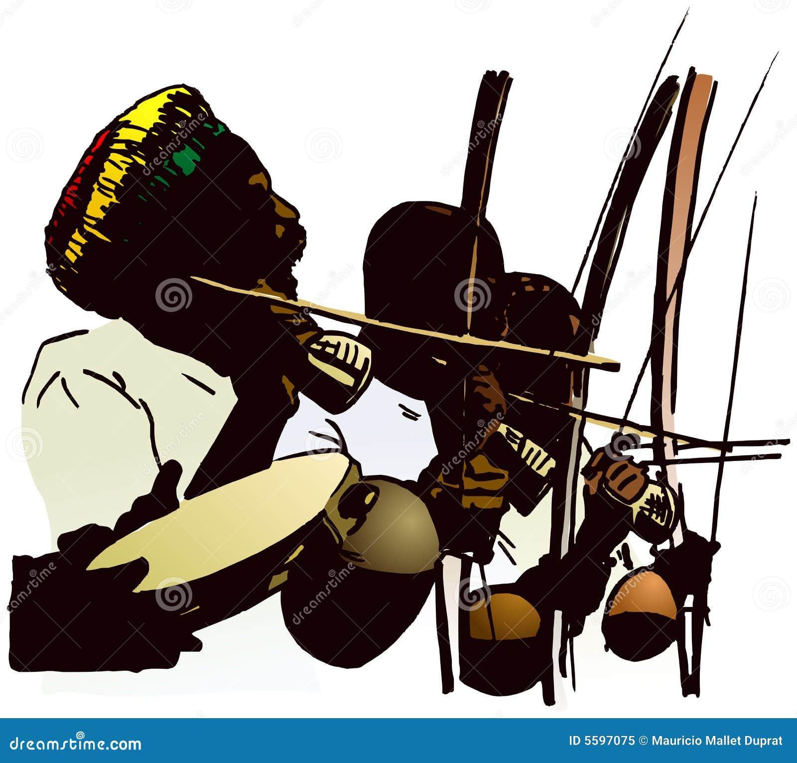 De musici van Capoeira.