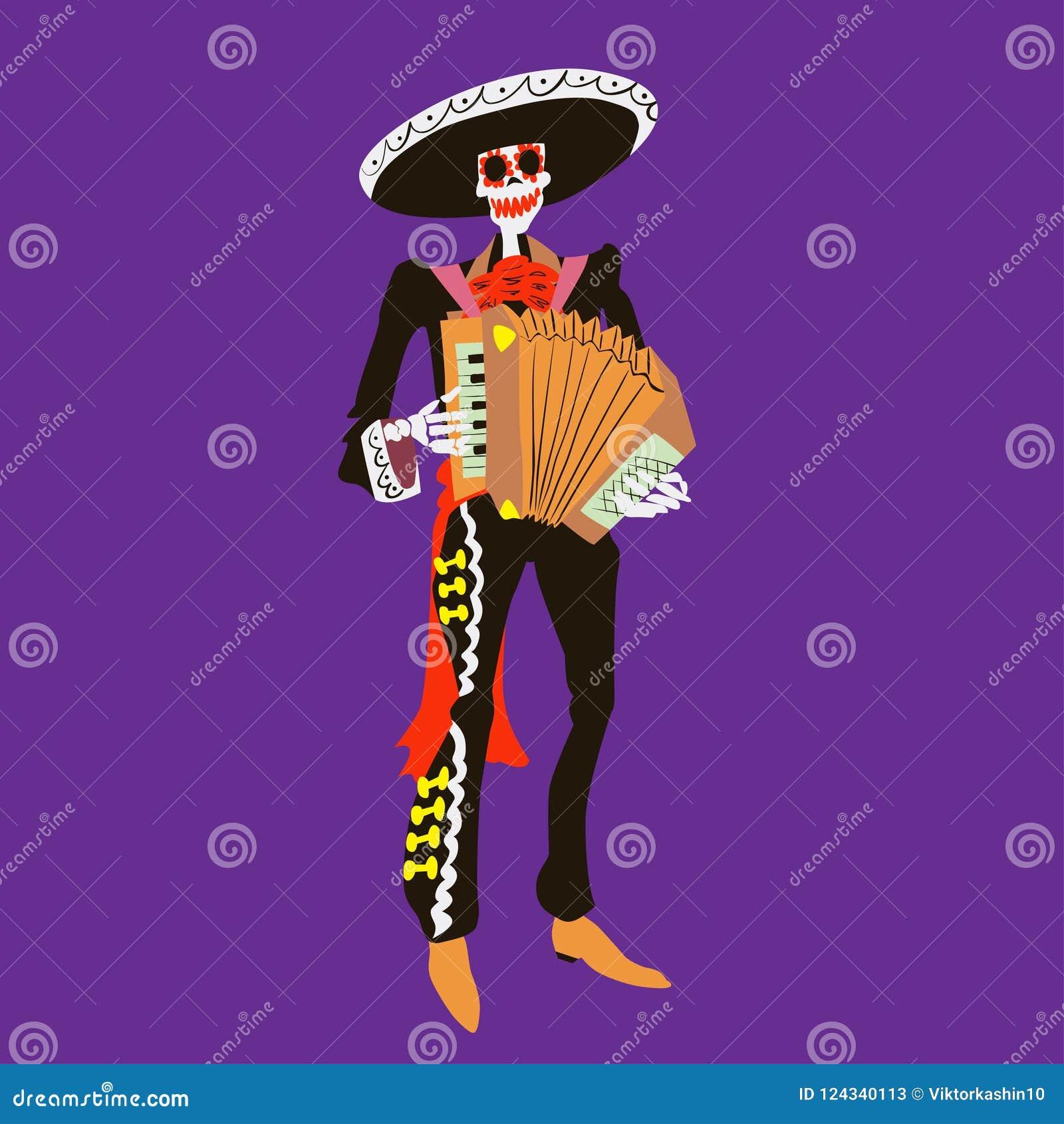 De musicus van het mariachiskelet van Gr Ð ¡ haracter met geïsoleerde harmonika Dia DE los muertos of de vectorillustratie van Ha