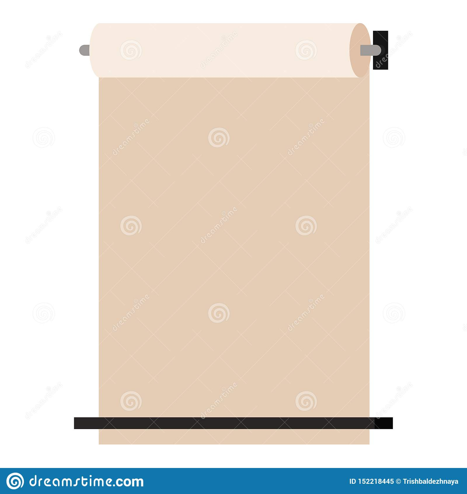 De muur zette kraftpapier-document op een hoger niveau weergevenautomaat op op witte achtergrond wordt geïsoleerd, Vector toon de