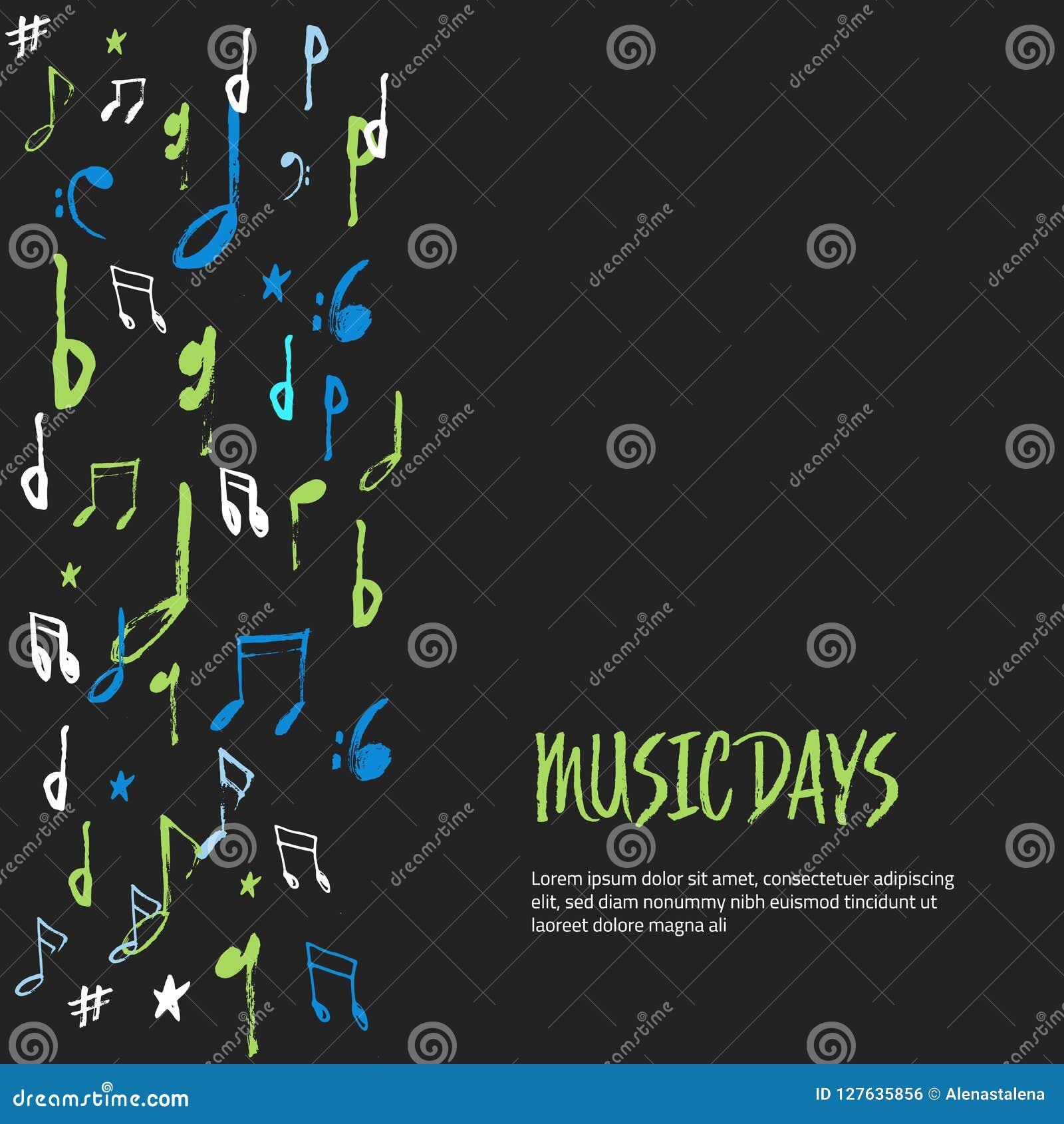De muziek neemt nota affiche van achtergrond Modern kleurrijk abstract muzikaal blad Vector illustratie