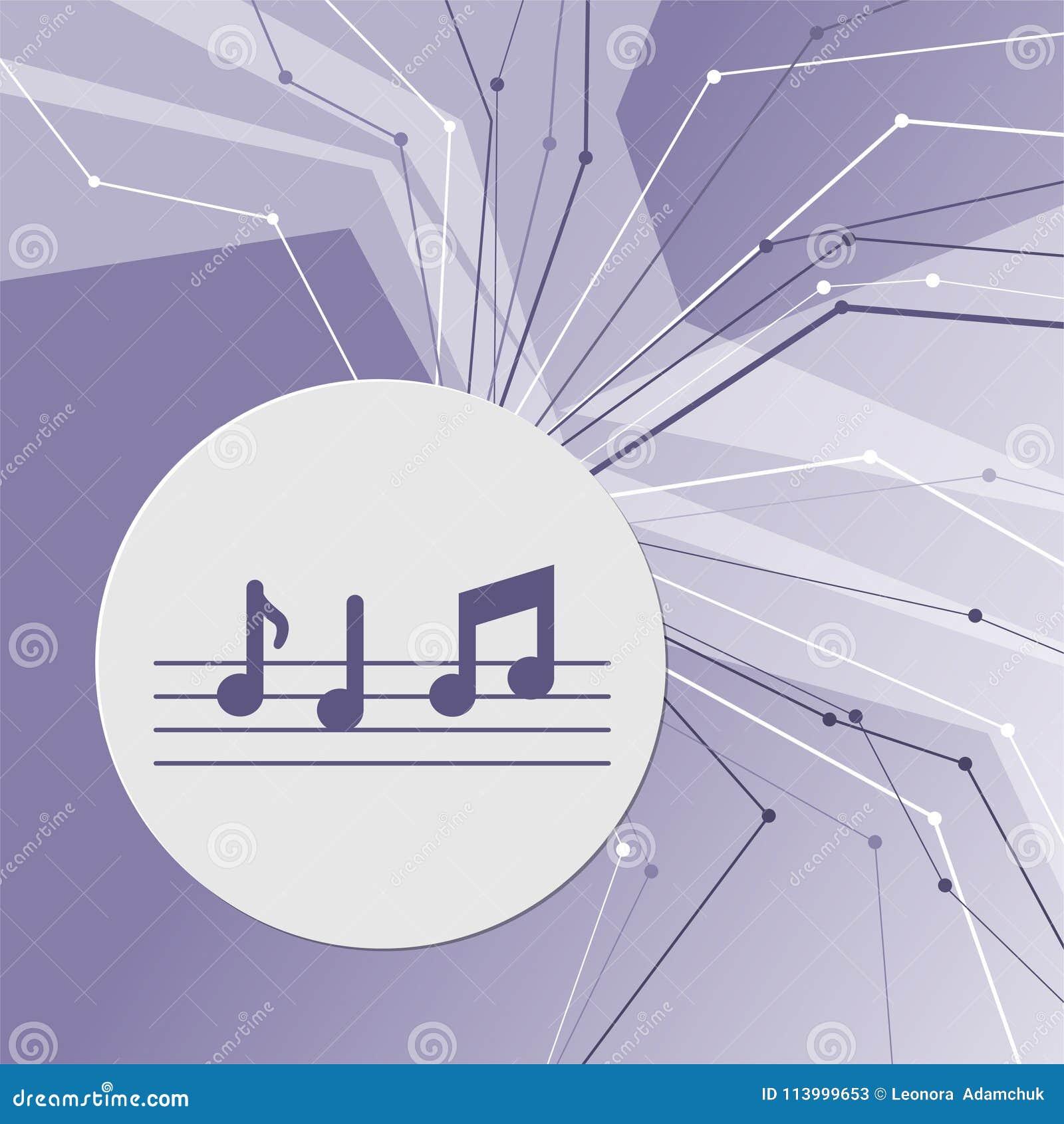 De muziek neemt nota van pictogram op purpere abstracte moderne achtergrond De lijnen in alle richtingen Met ruimte voor uw recla