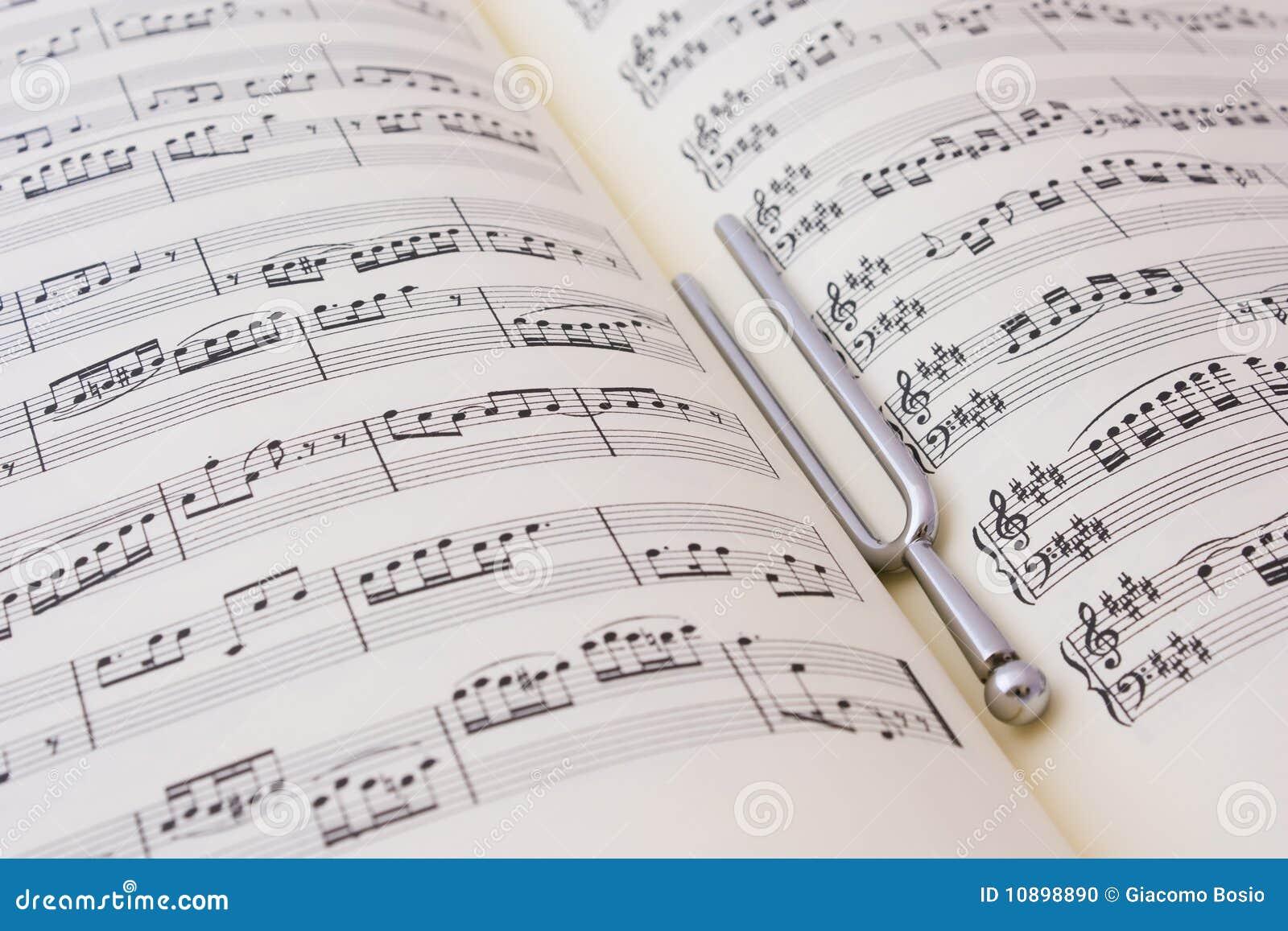 De muziek van het blad en diapason