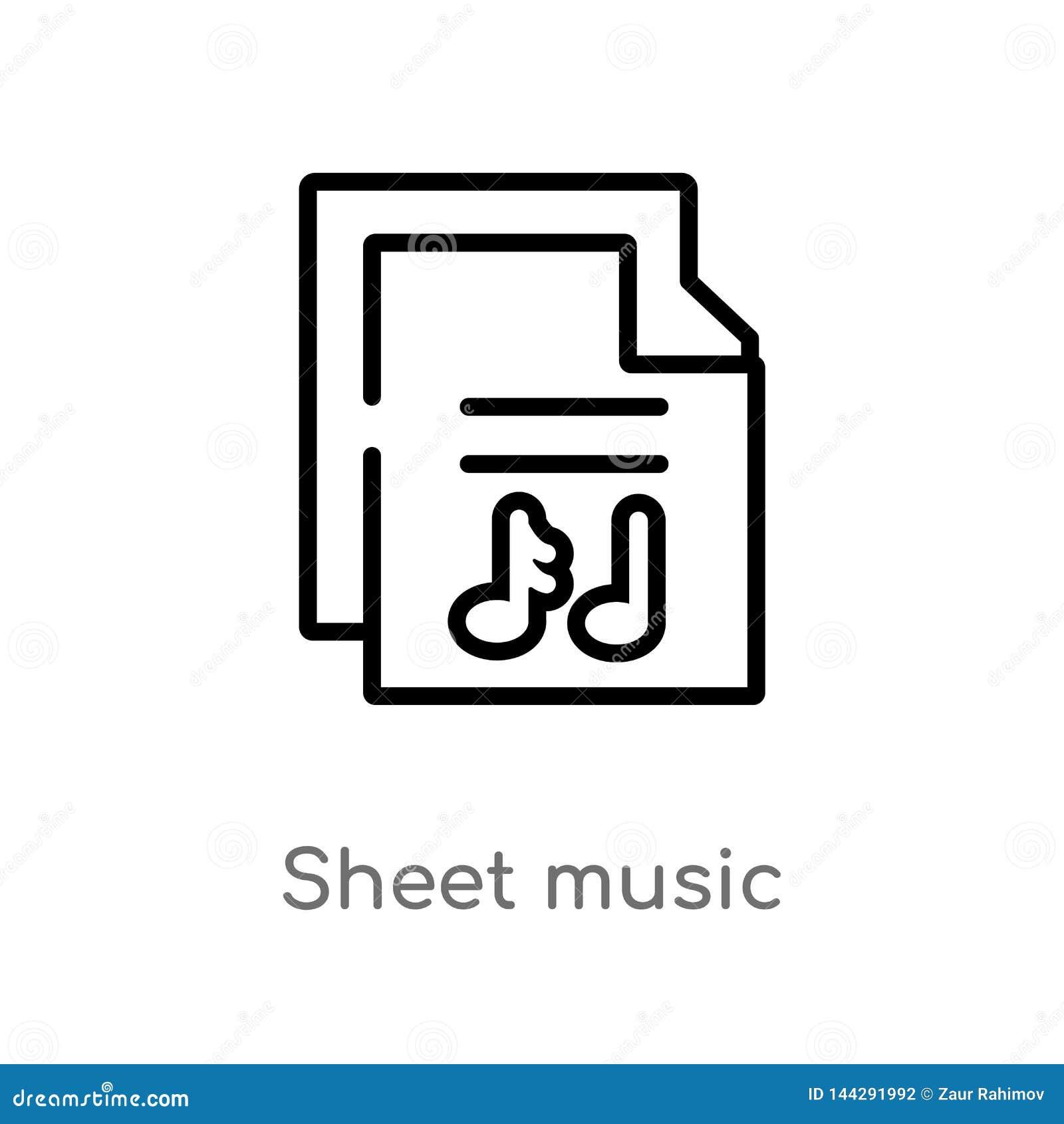 De muziek vectorpictogram van het overzichtsblad de ge?soleerde zwarte eenvoudige illustratie van het lijnelement van muziekconce