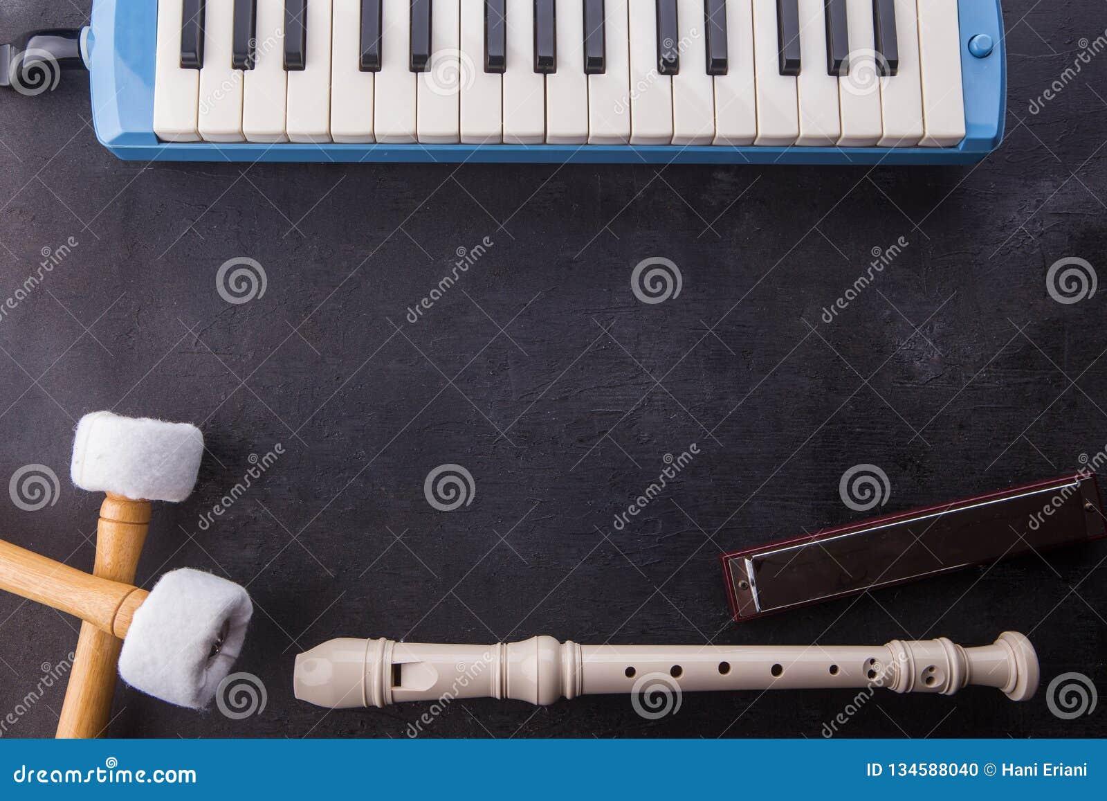 De muzikale instrumentenachtergrond met fluit, pianika, de harmonika, en de baarzen plakken op zwarte houten