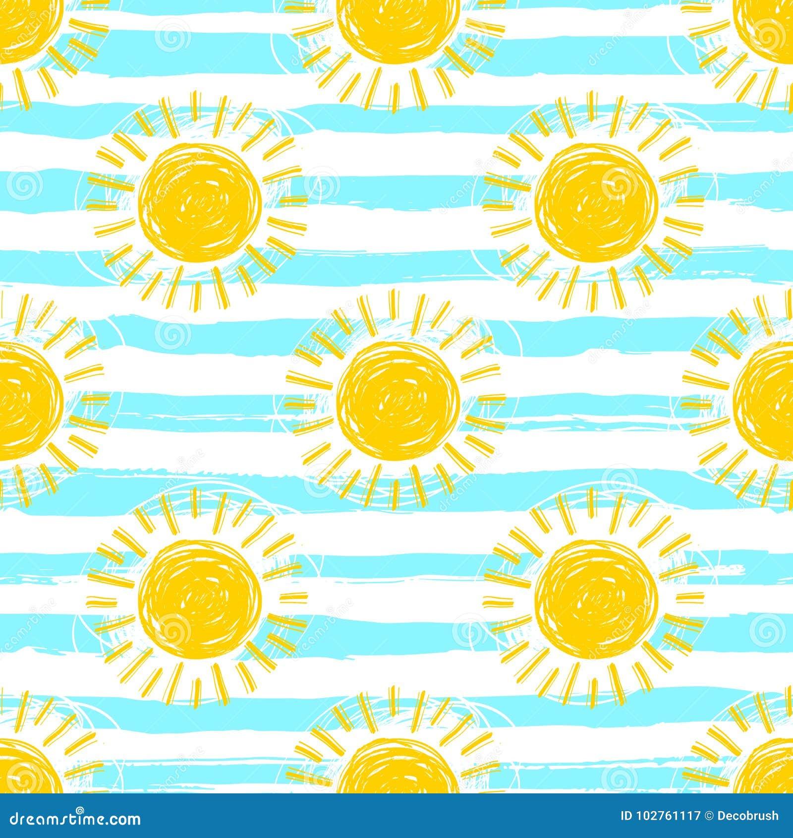 De naadloze, gestreepte achtergrond van het zonpatroon Hand getrokken gele zonneschijnpictogrammen
