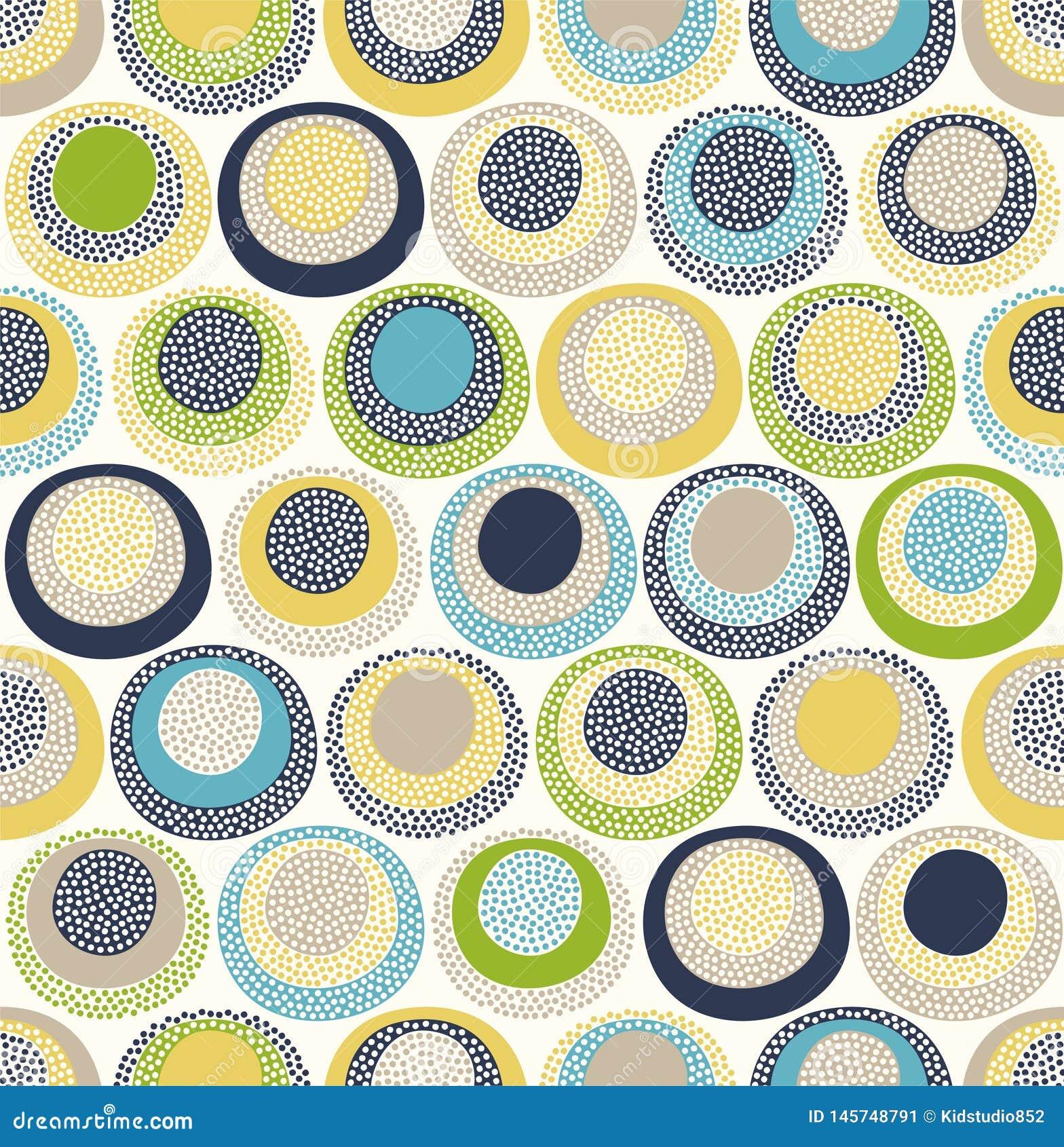 De naadloze kinderachtige abstracte kleurrijke ronde cirkel stippelt patroon op witte achtergrond