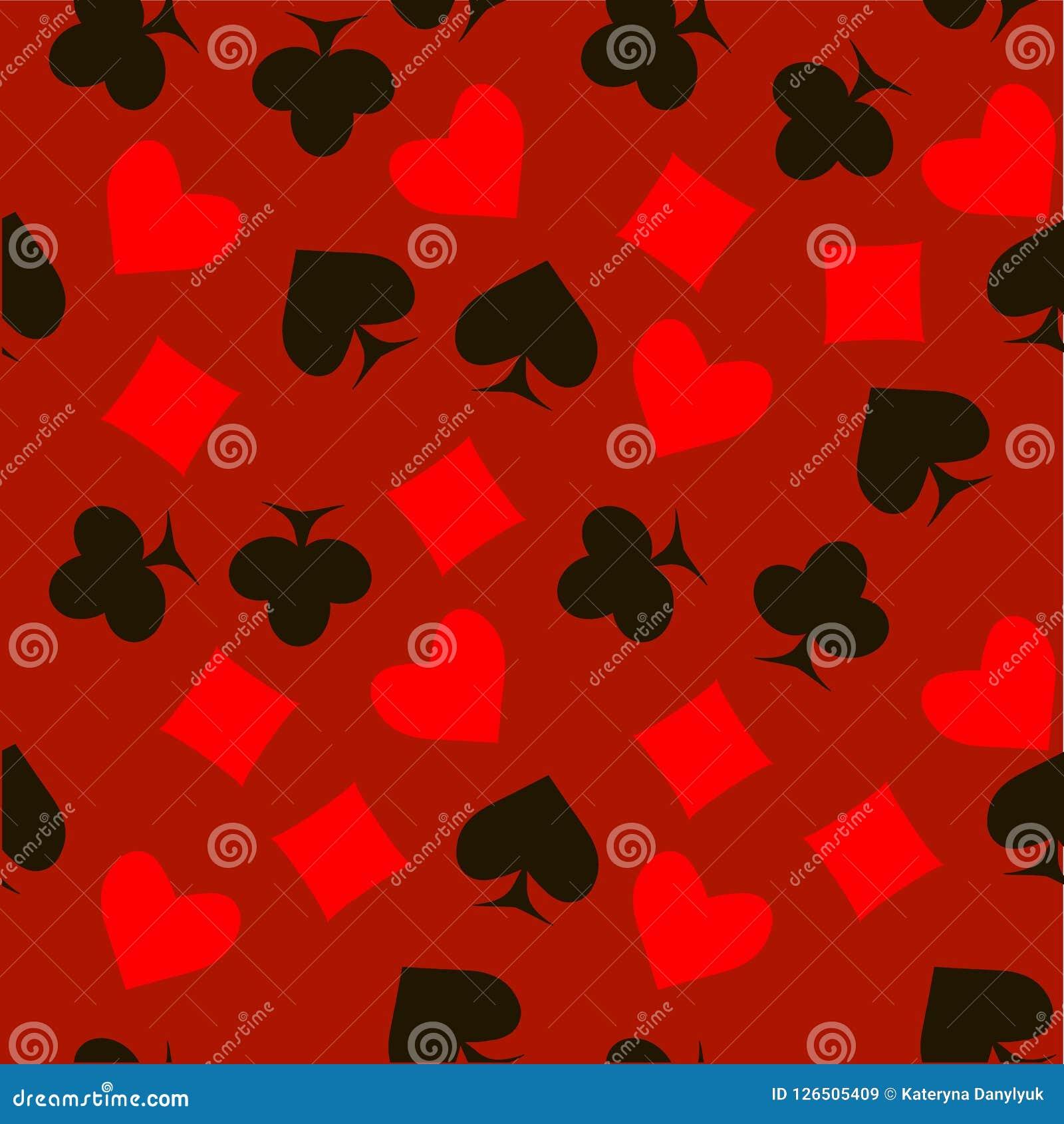 De naadloze rode en zwarte spadesharten, diamanten, clubs, pook, kaartensymbolen op rood patroon ontwerpen element