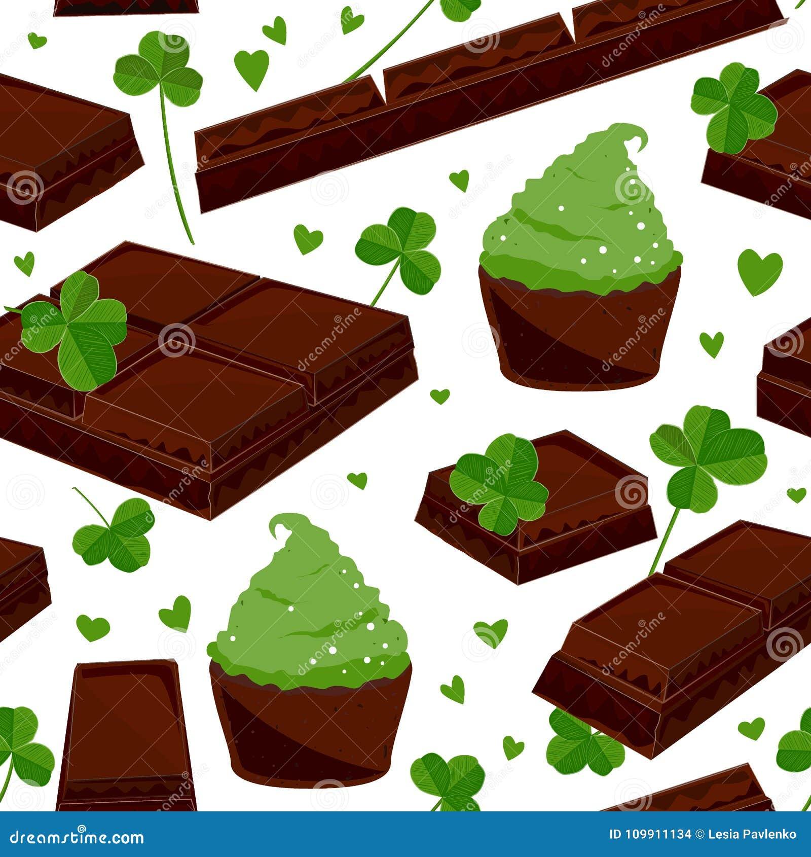 De naadloze St Patrick ` s dagachtergrond met klaver verlaat chocoladerepen, en groene cupcakes Vector illustratie