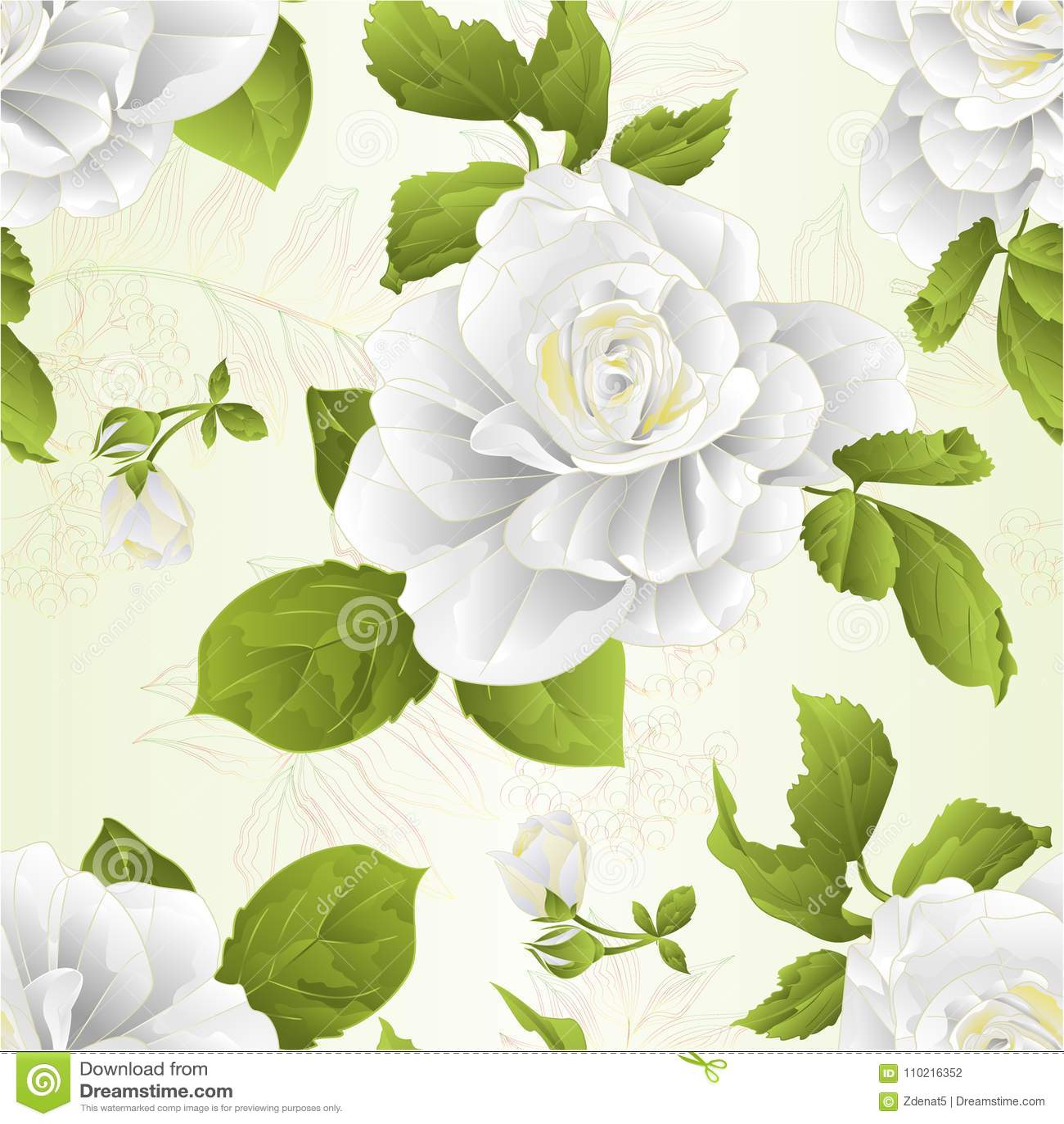 De naadloze witte bloem van de textuurstam nam toe en verlaat uitstekende natuurlijke achtergrond vectorillustratie editable