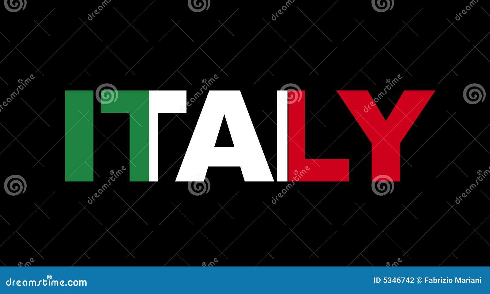 De Naam Van Itali 235 Met Vlag Vector Illustratie