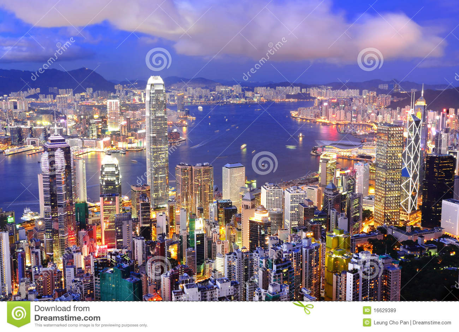 De nachtmening van Hongkong