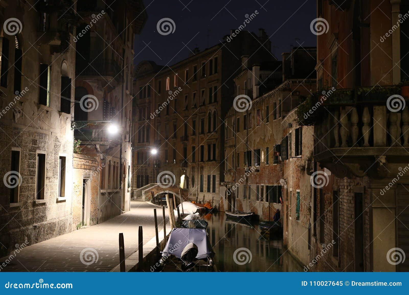 De nachtmening van Venetië, Italië