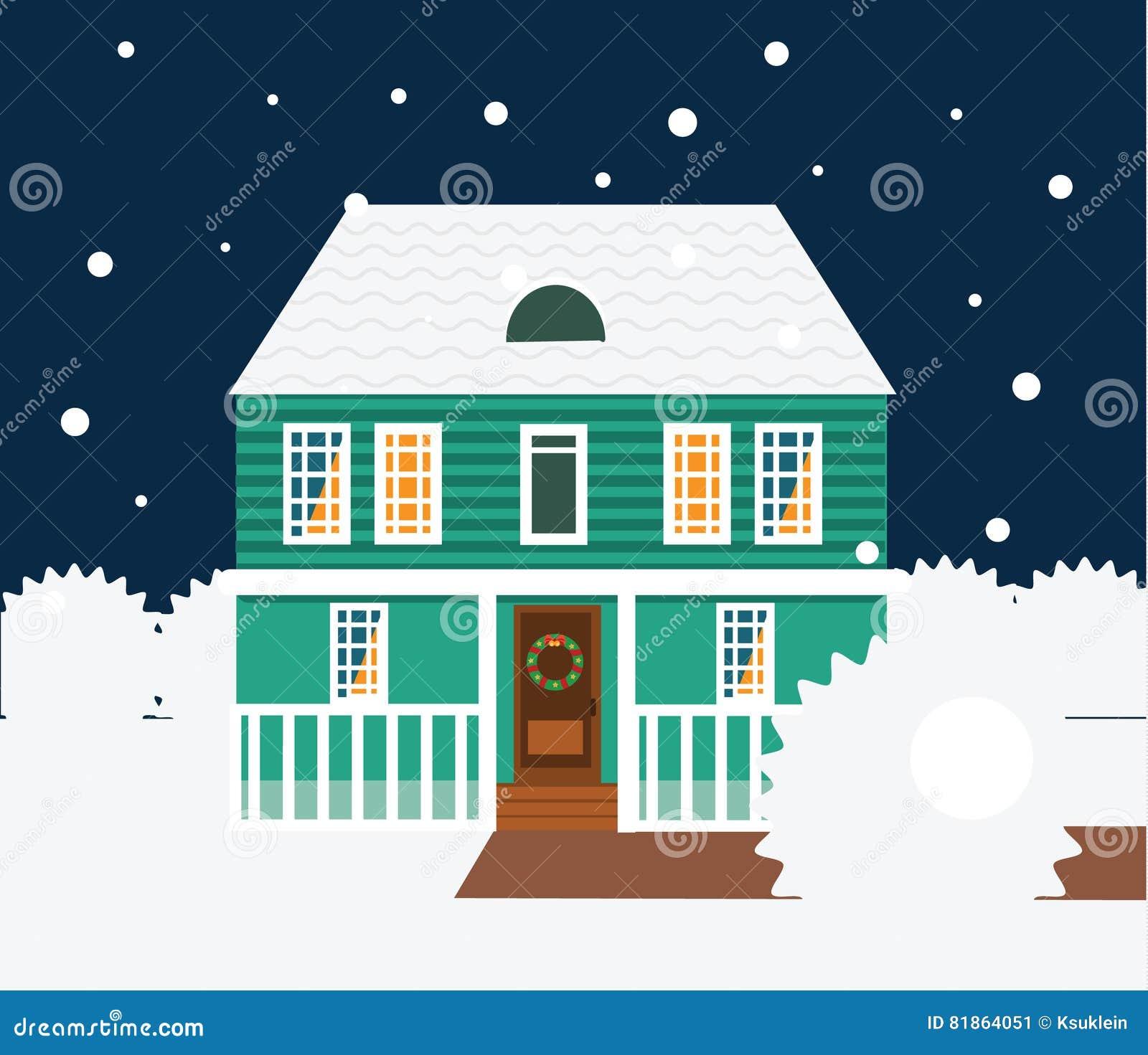 De nachtscène van de onroerende goederenwinter Huis, plattelandshuisje, huis in de stad, zoete huis vectorillustratie