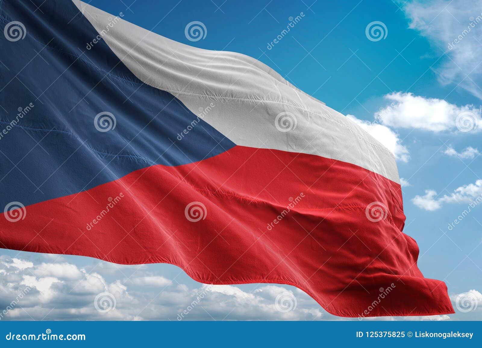 De nationale vlag die van de Tsjechische Republiek blauwe hemel realistische 3d illustratie golven als achtergrond