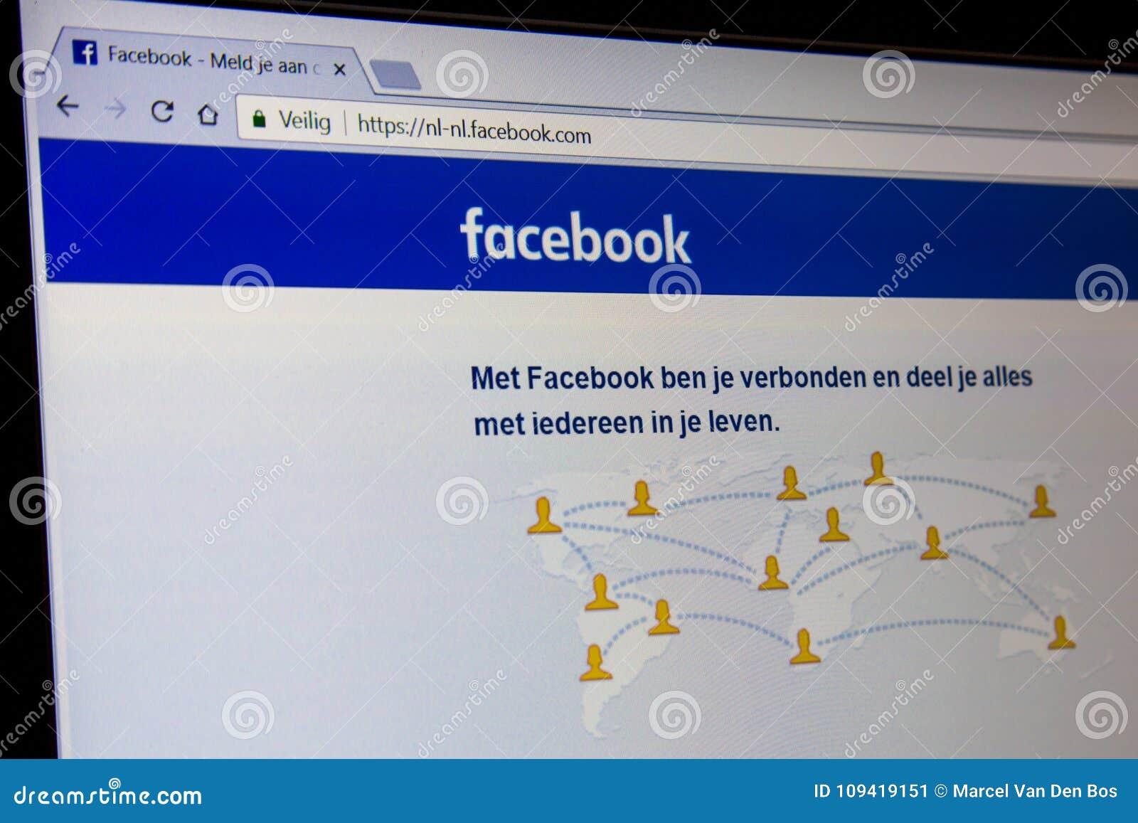 De Nederlandse homepage van Facebook met adresbar