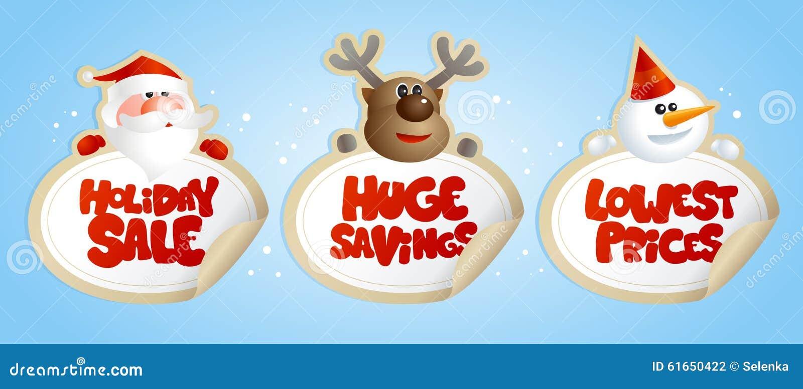 De nieuwe stickers van de jaarverkoop met Kerstman, herten en sneeuwman