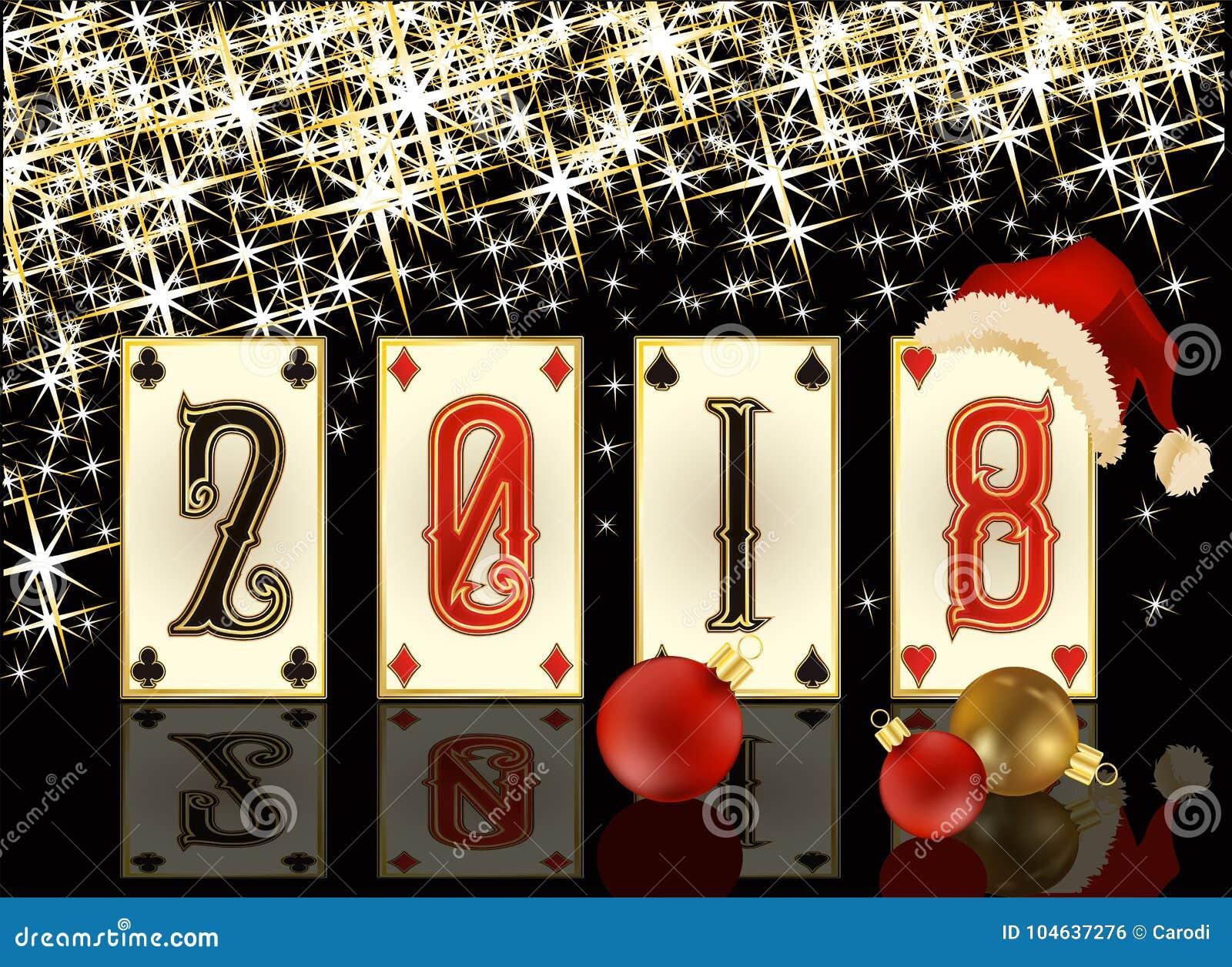 Download De Nieuwe Van De Het Casinopook Van 2018 Kaart Van De Het Jaargroet, Vector Vector Illustratie - Illustratie bestaande uit dekking, ontwerp: 104637276
