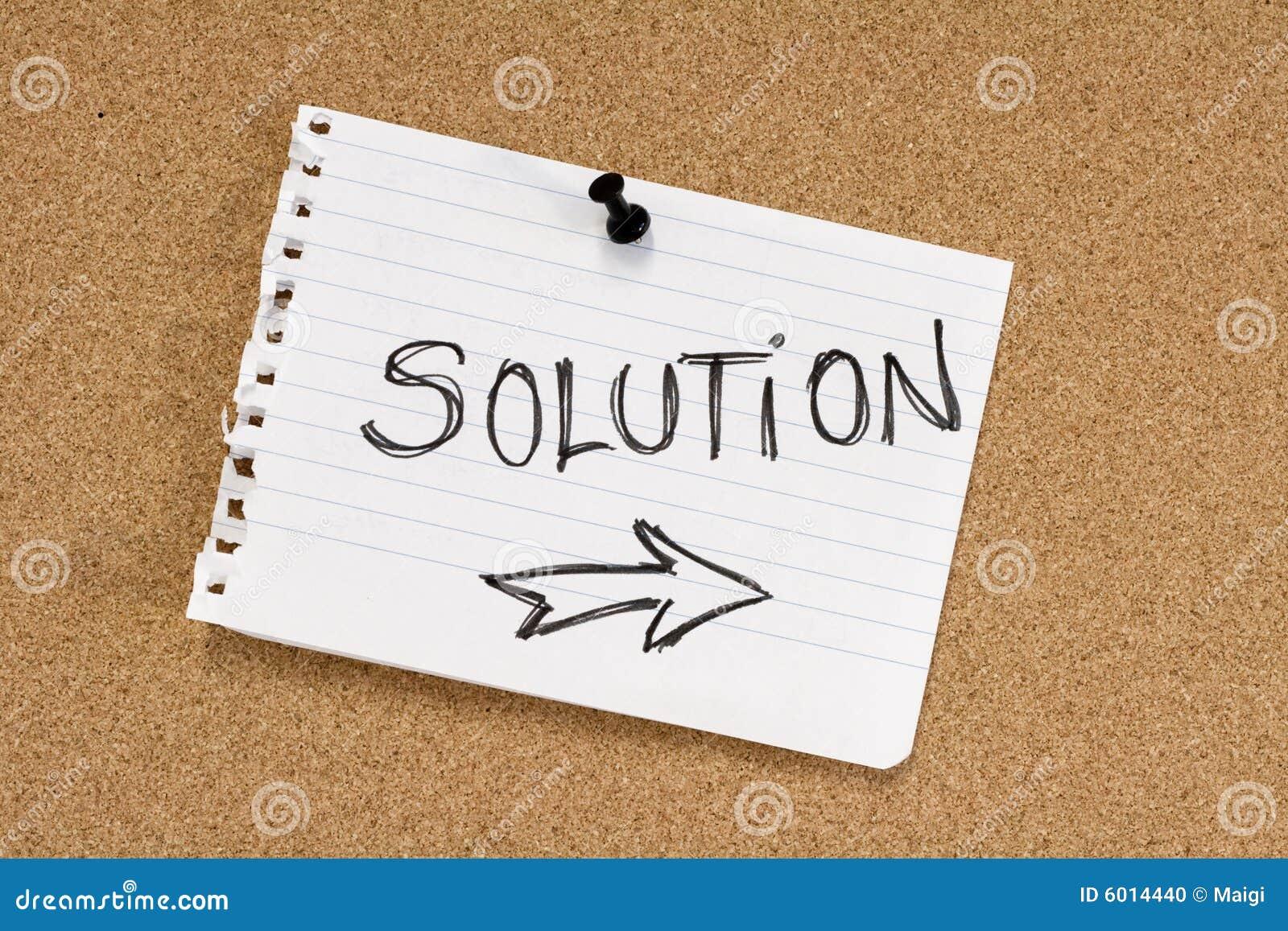 De nota van de oplossing over pinboard