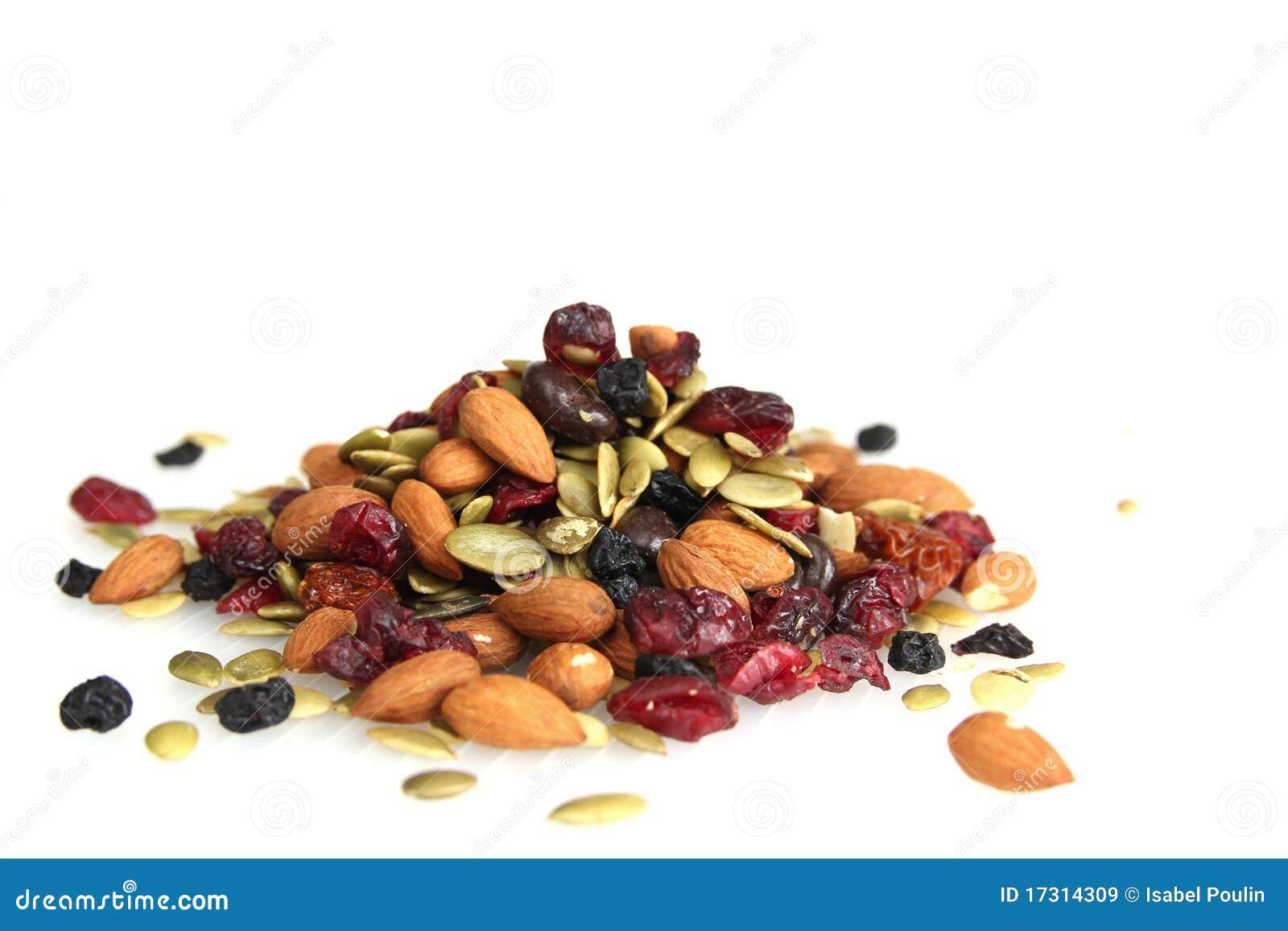 De noten van de sleep en droge vruchten