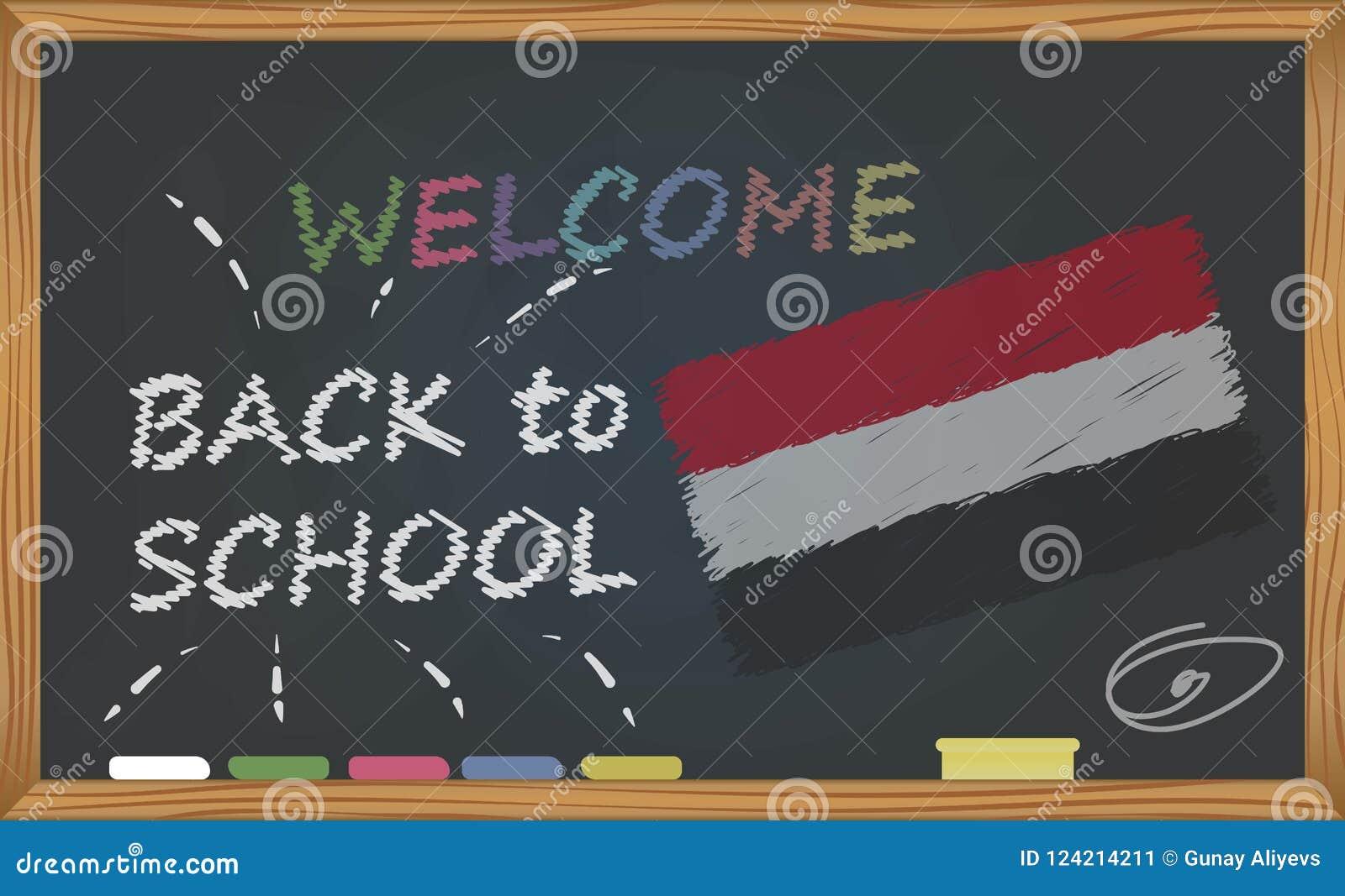 De nouveau à l école avec le concept d étude et d enfance Bannière avec une inscription avec l accueil de craie de nouveau à l éc