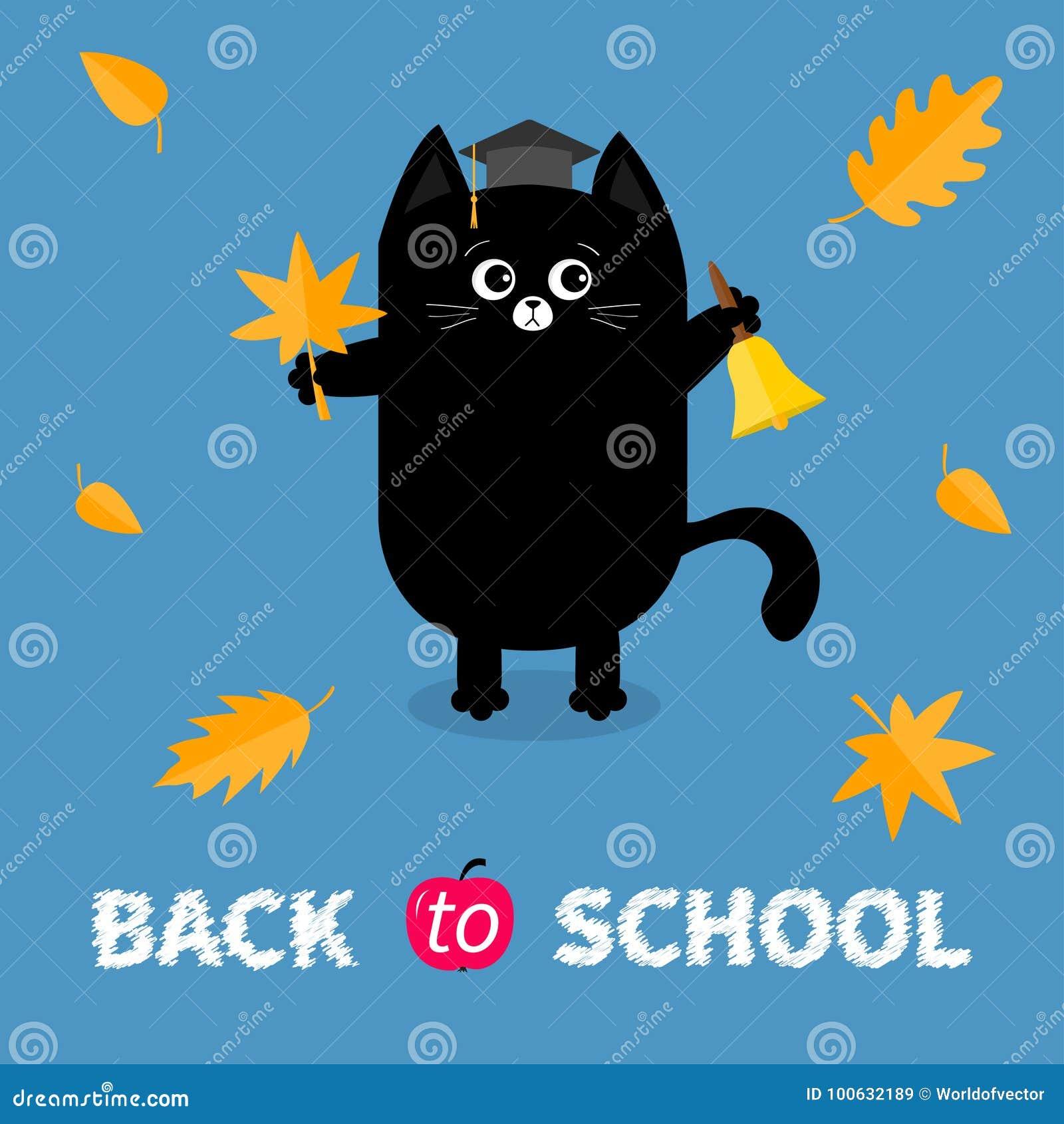 De nouveau à l école Cloche de sonnerie d or de chapeau de chapeau d obtention du diplôme de chat noir de rouge orange de feuille