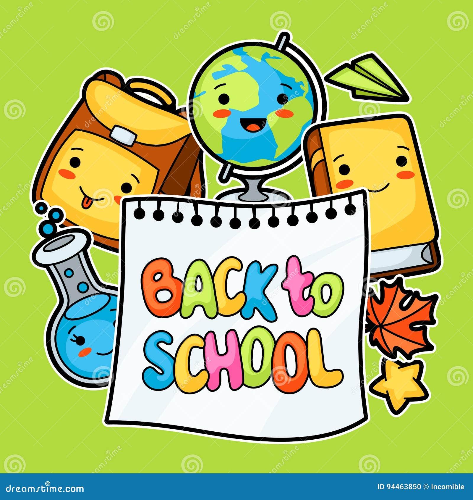 De nouveau à l école Conception de Kawaii avec les approvisionnements mignons d éducation