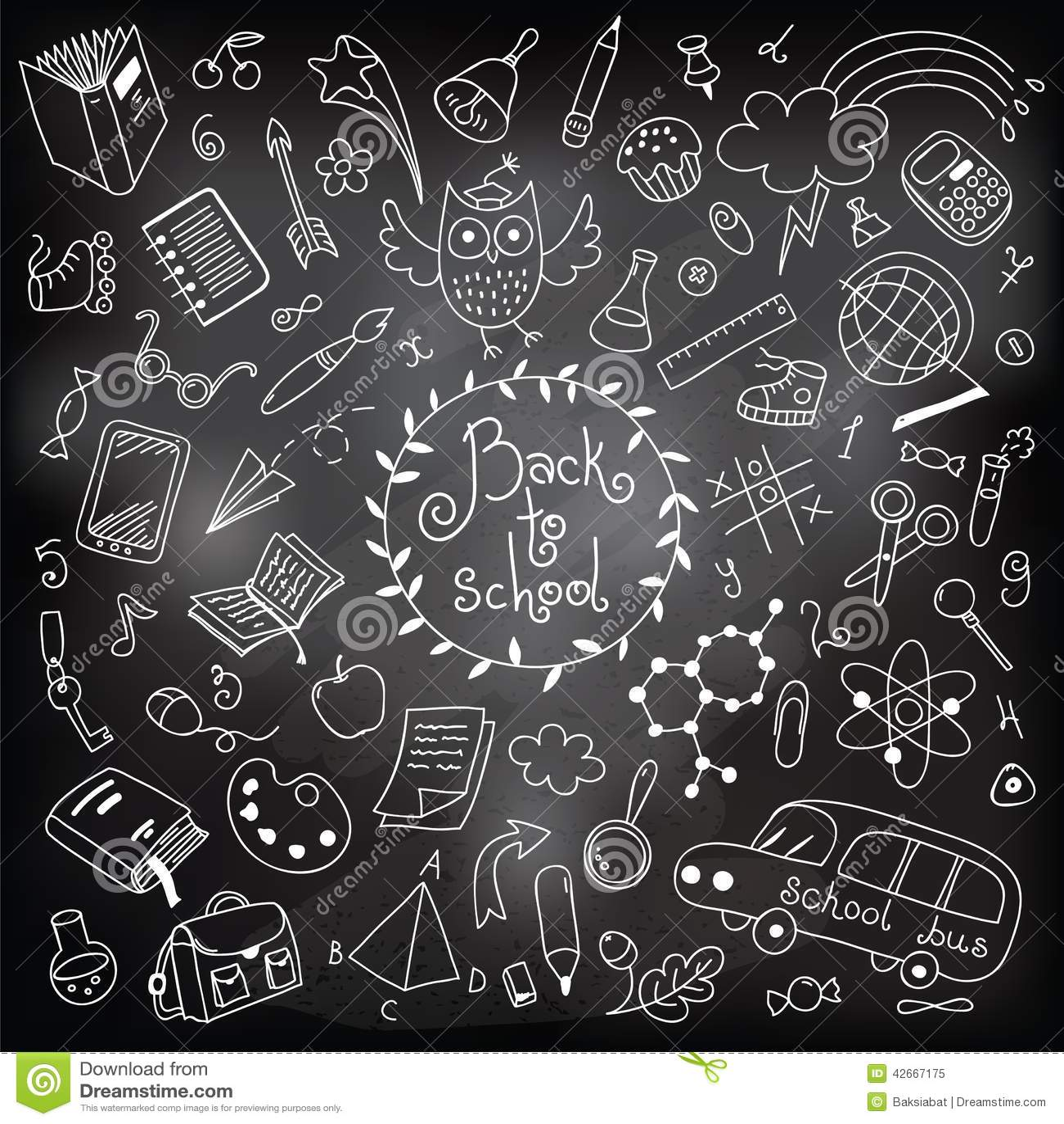 De nouveau l 39 cole dessin avec la craie illustration de vecteur image 42667175 - Dessin a la craie ...