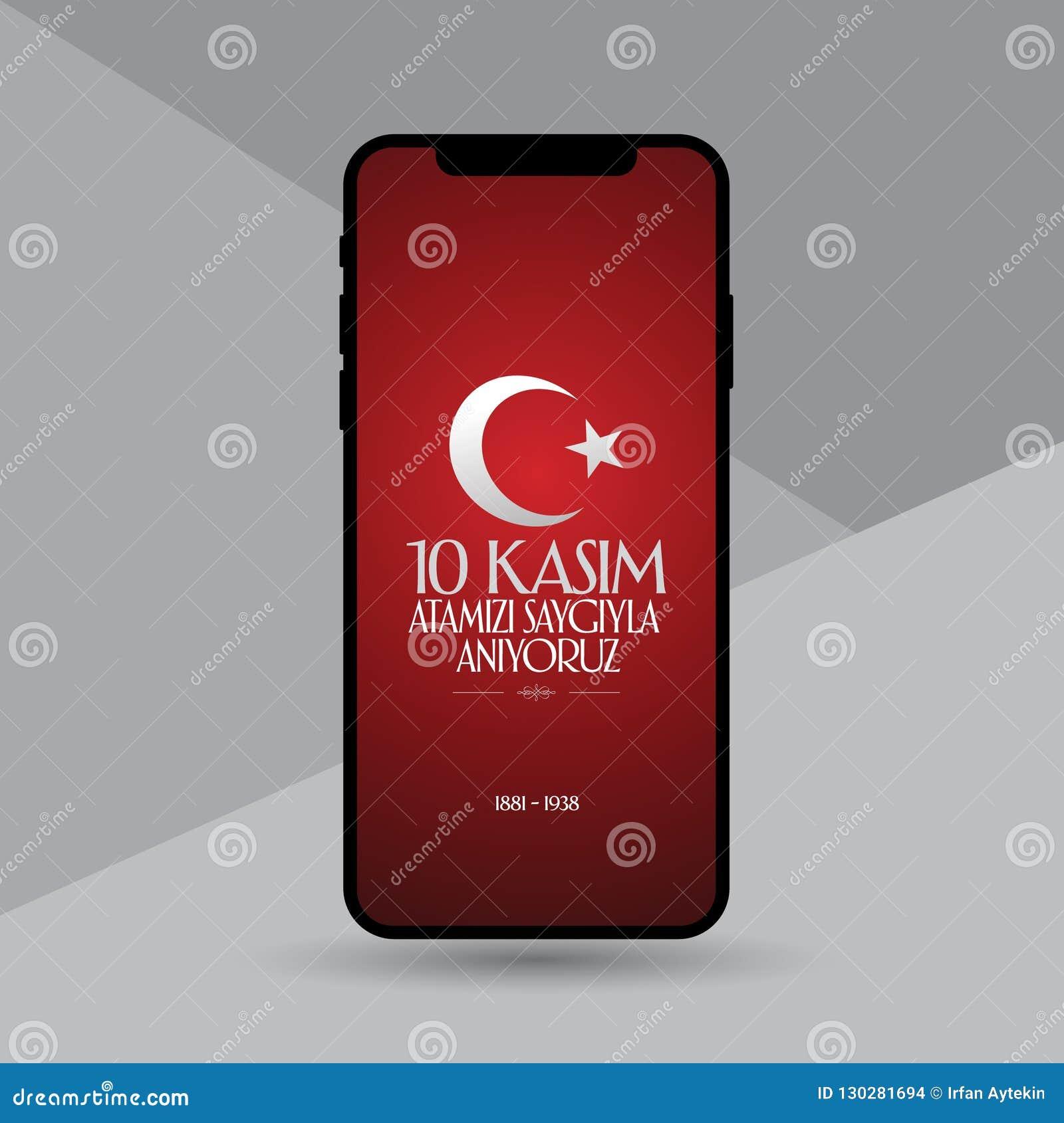 10 de novembro, aniversário de Mustafa Kemal Ataturk Death Day Memorial Day de Ataturk Projeto do quadro de avisos