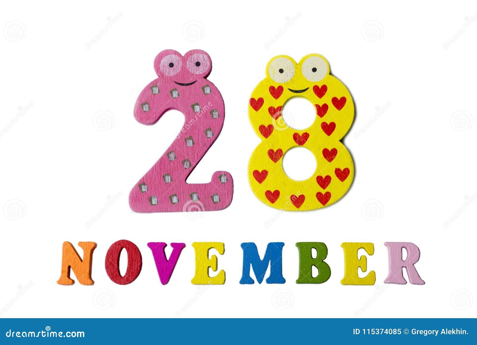 28 de novembro no fundo, nos números e nas letras brancos