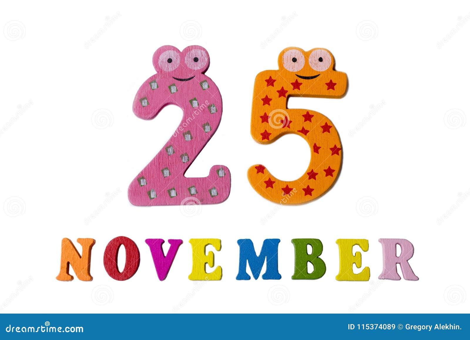 25 de novembro no fundo, nos números e nas letras brancos
