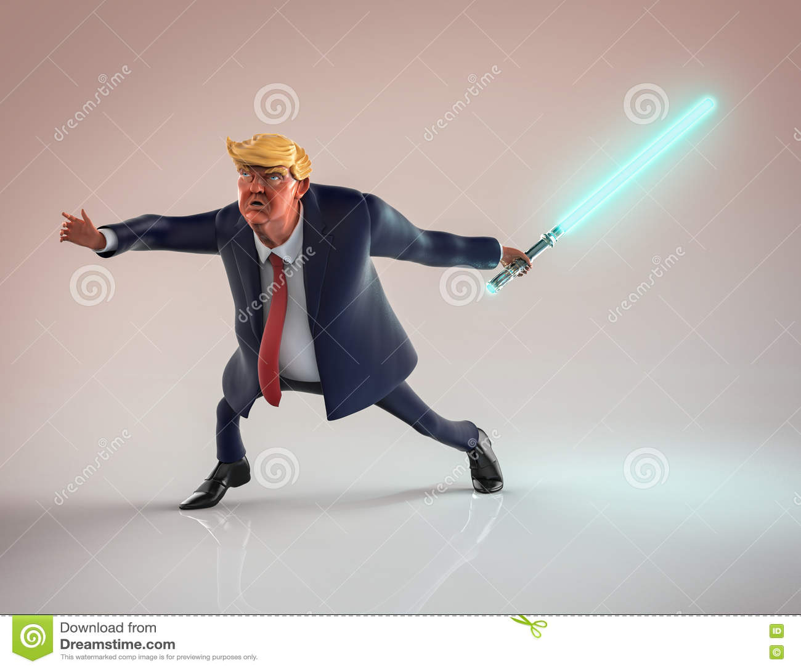 12 de noviembre de 2016: Retrato del carácter de Donald Trump con el luz-sable ilustración 3D