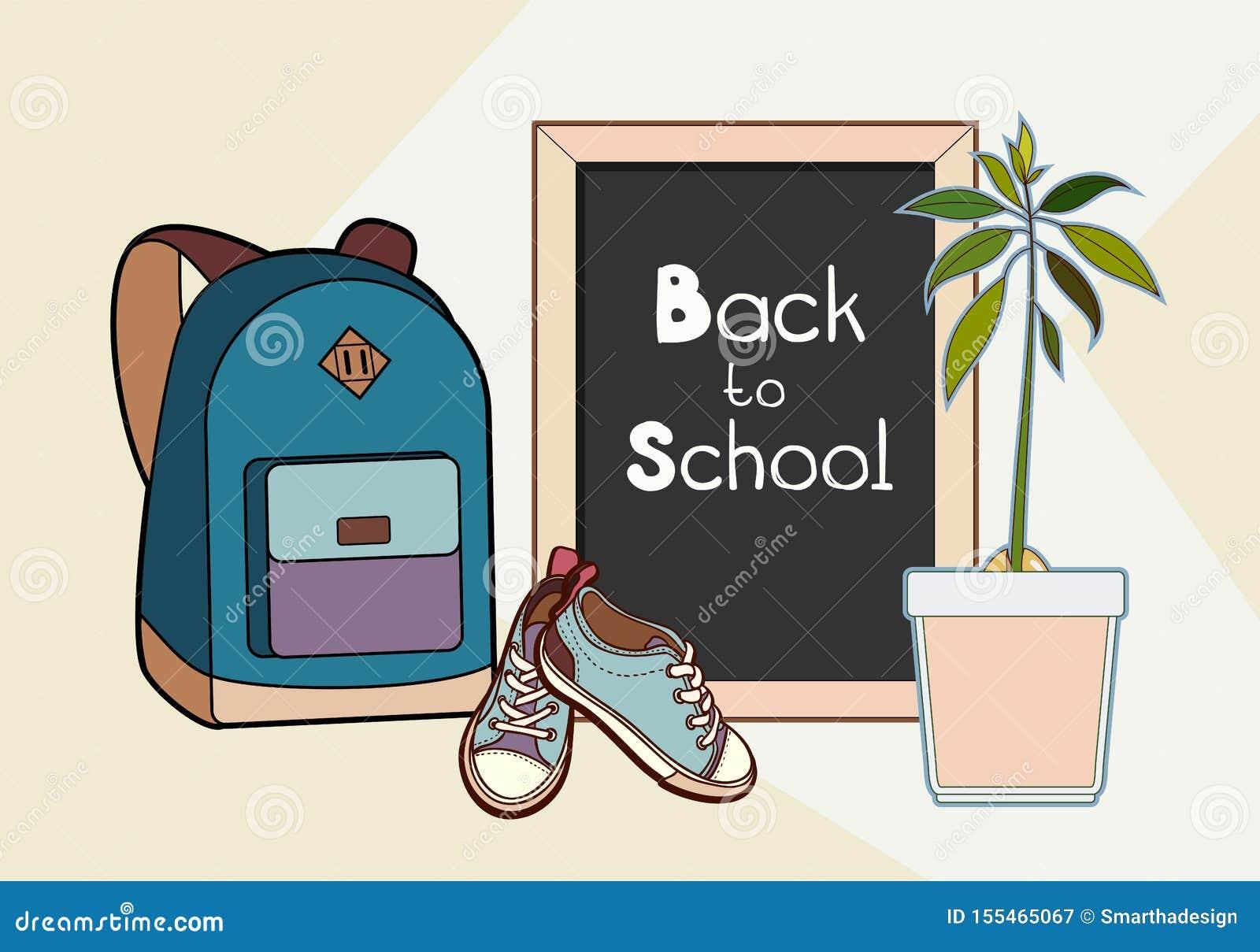 De nuevo al ejemplo del vector de las letras de la escuela La mochila, la pizarra, las zapatillas de deporte y el vector de la pl