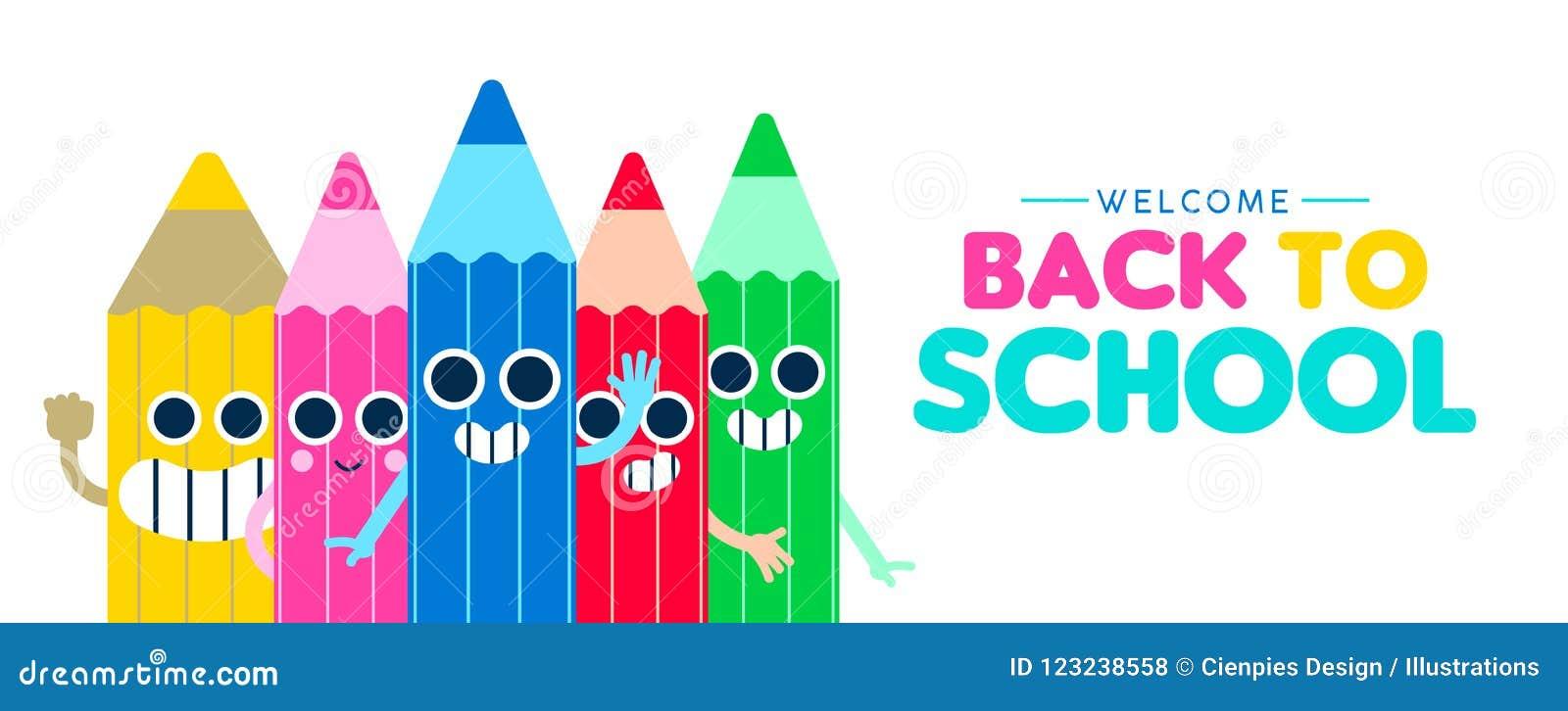 De nuevo a bandera feliz del web de la historieta del lápiz de la escuela