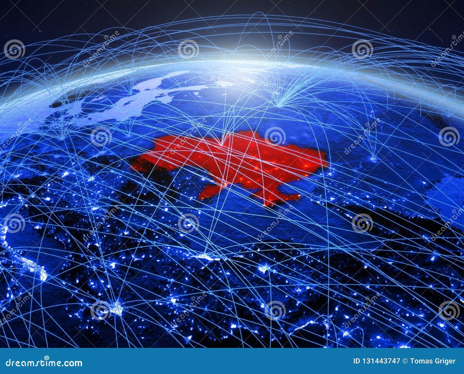 De Oekraïne op blauwe digitale aarde met internationaal netwerk die mededeling, reis en verbindingen vertegenwoordigen 3d