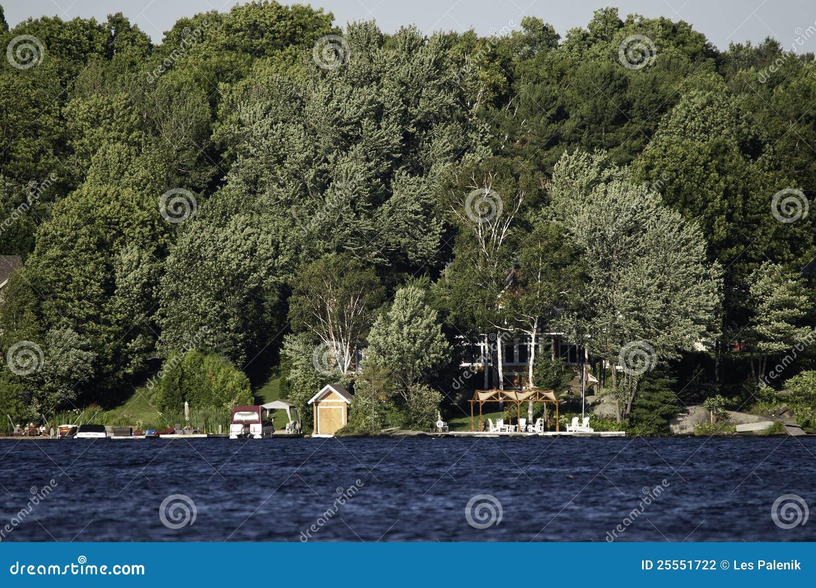 De oever van het meer met plattelandshuisjes