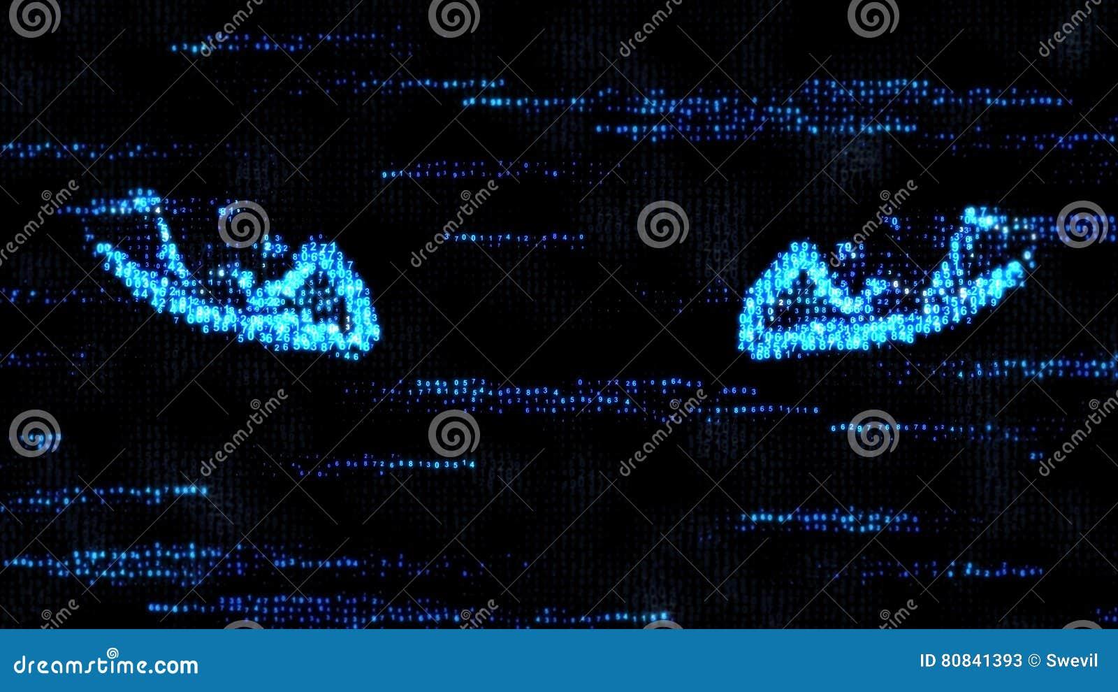De ogen van een hakker Aan spion op de computer Het binnendringen in een beveiligd computersysteem computercode