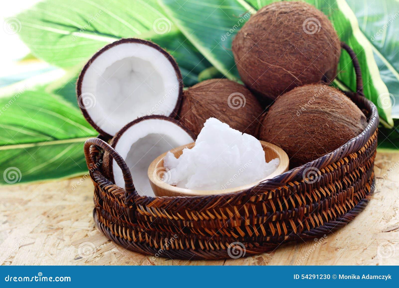De olie van de kokosnoot