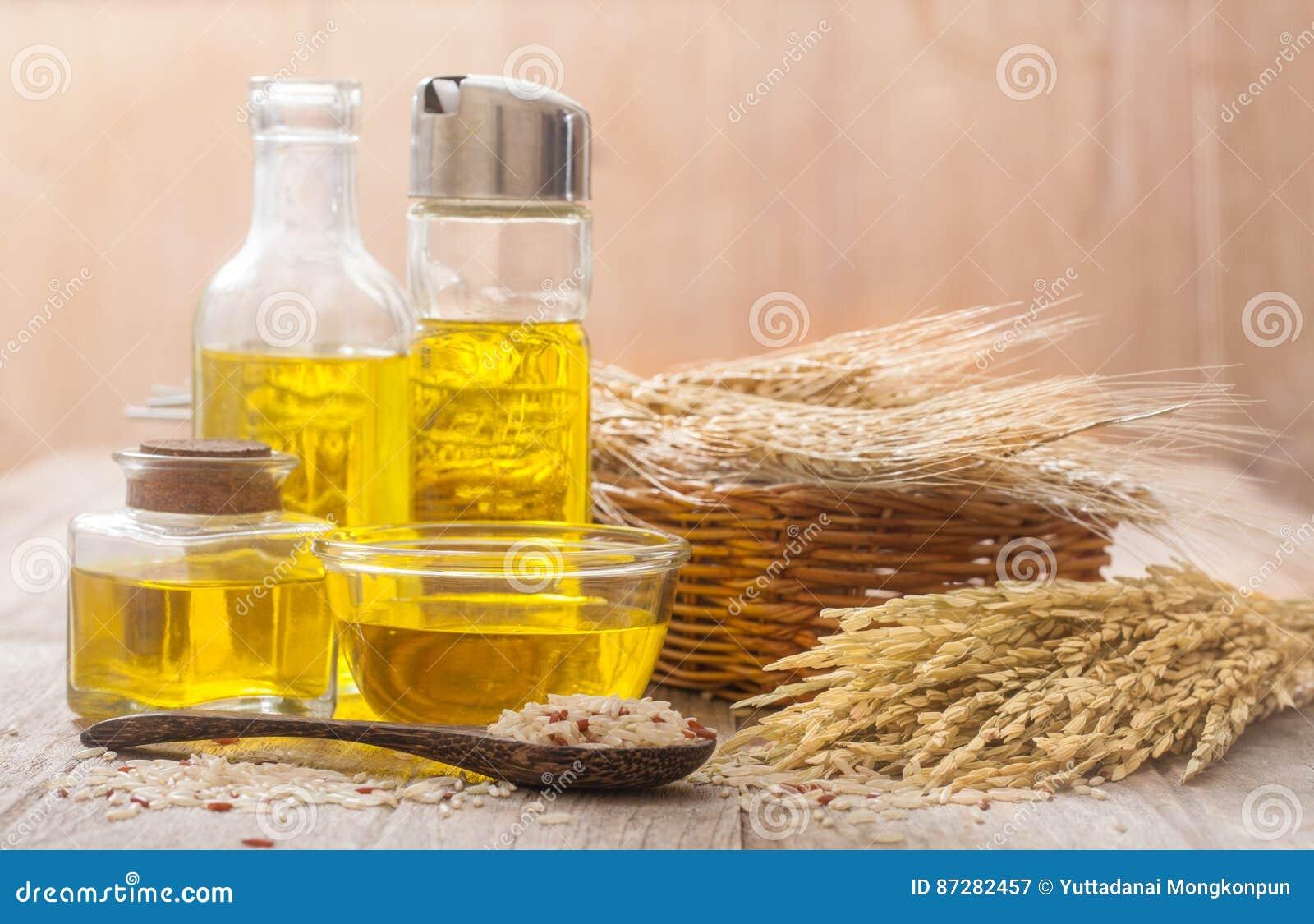 De olie van rijstzemelen