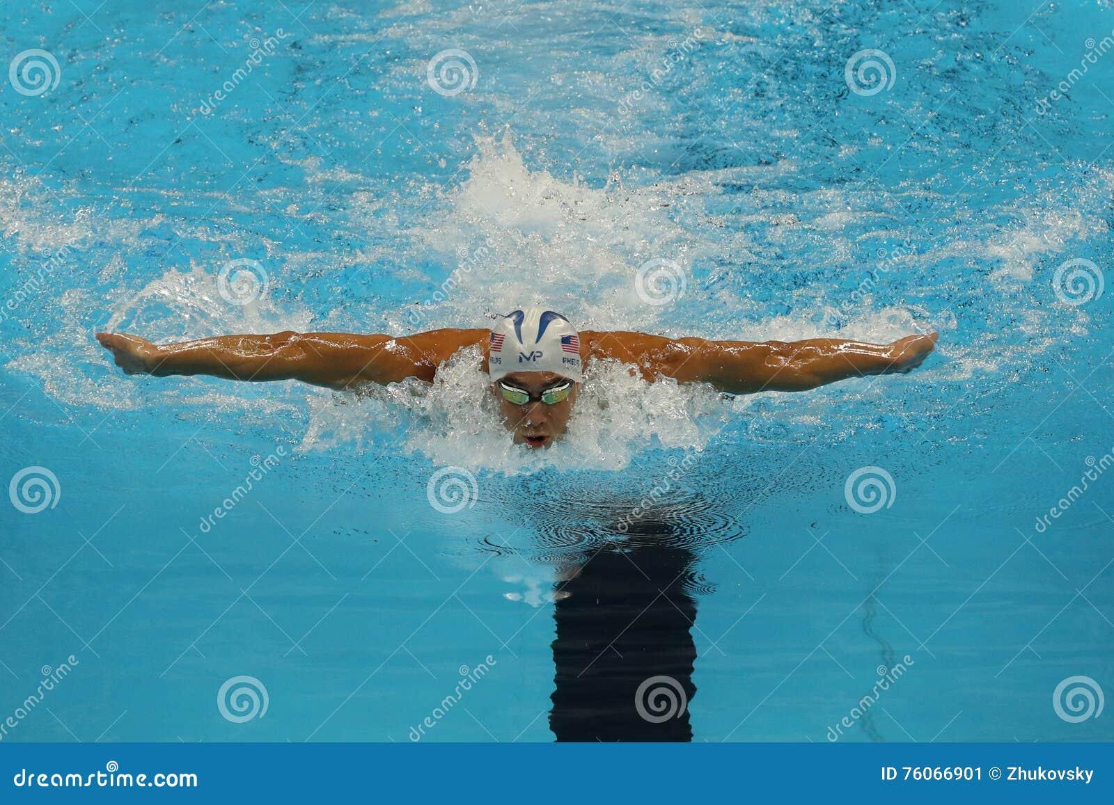 De olympische kampioen Michael Phelps van Verenigde Staten concurreert bij de individuele hutspot van Mensen 200m van Rio 2016 Ol