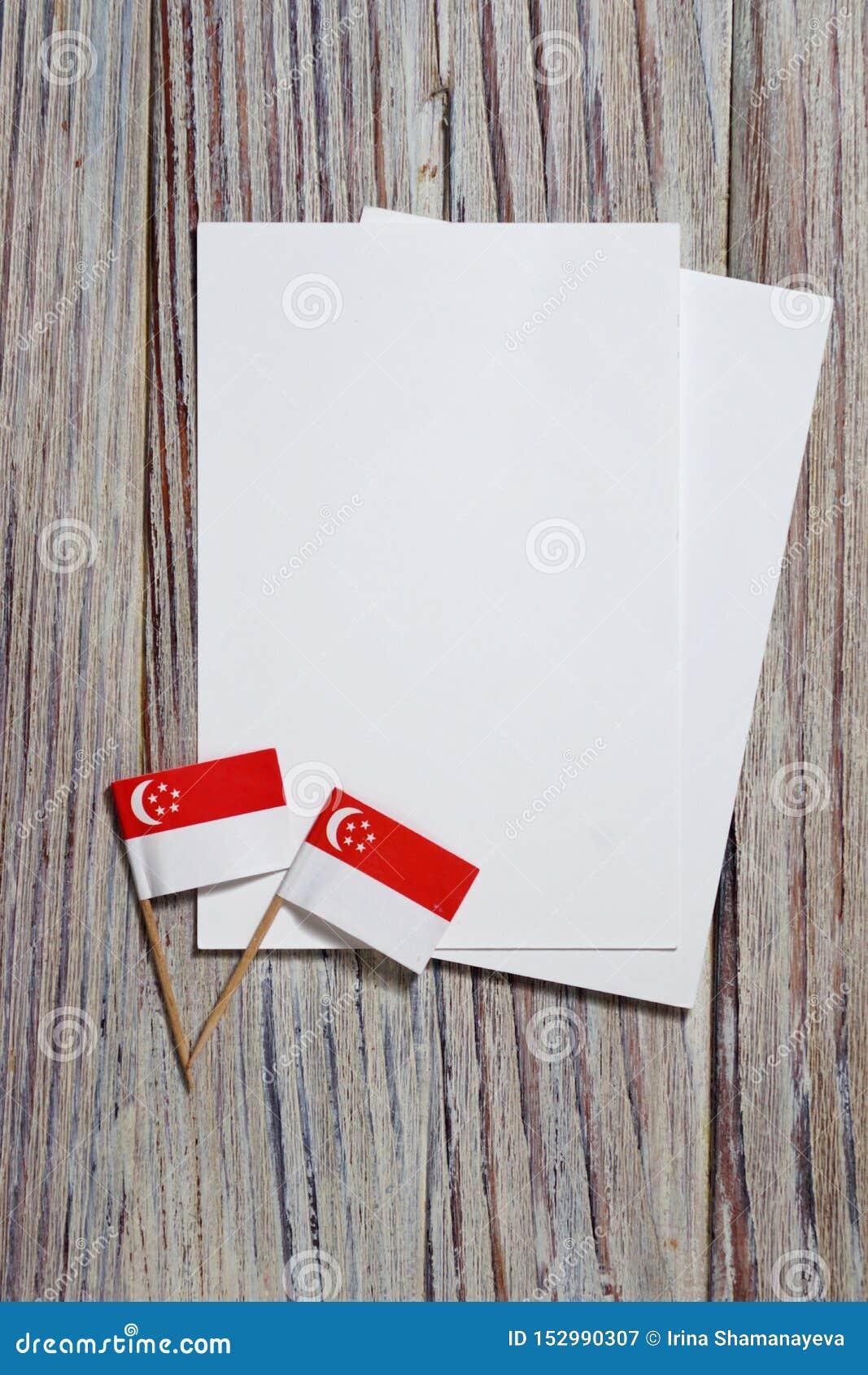 De Onafhankelijkheidsdag van Singapore 9 Augustus het concept vrijheid, onafhankelijkheid en patriottisme minivlaggen met bladen