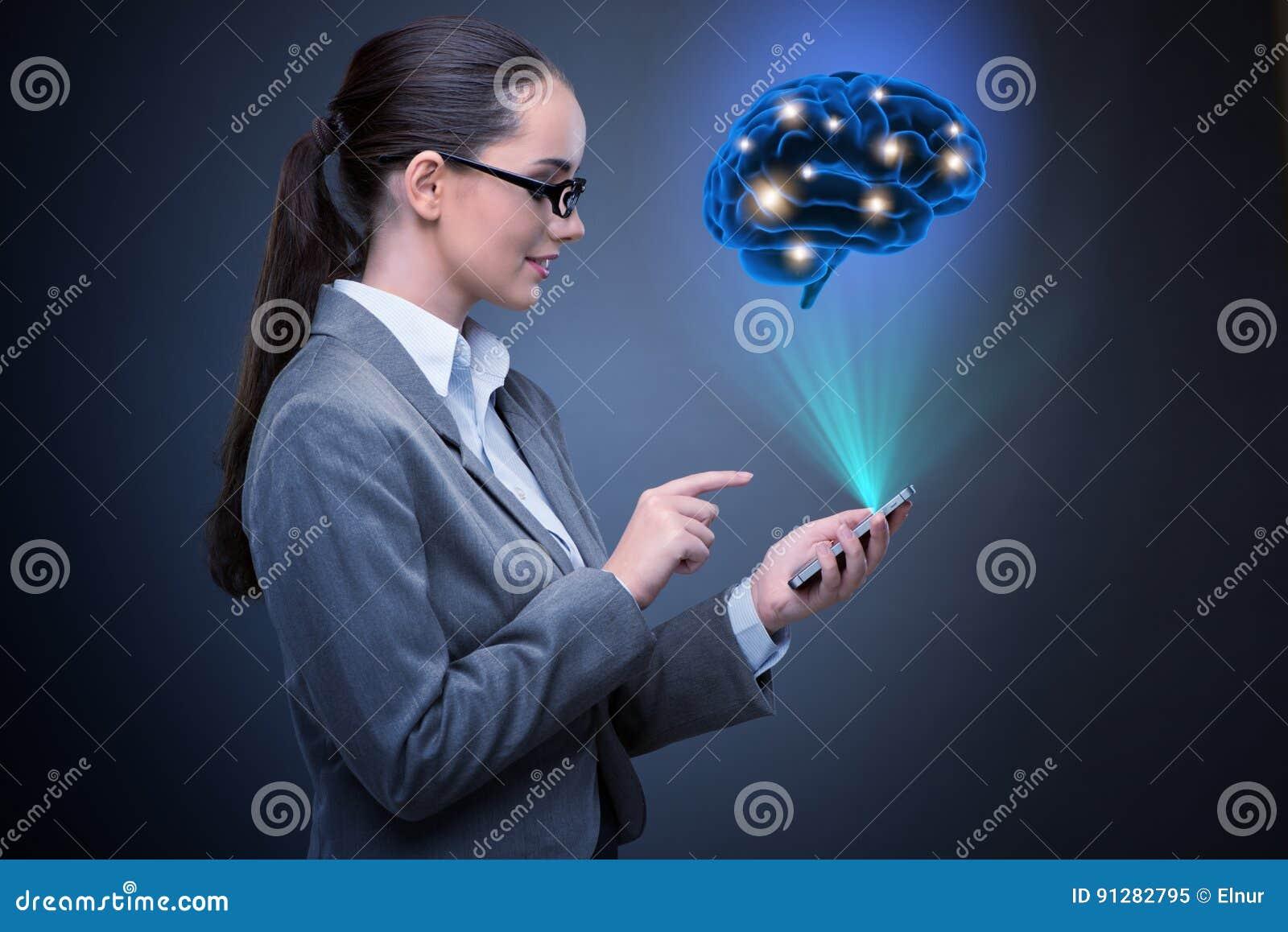 De onderneemster in kunstmatige intelligentieconcept