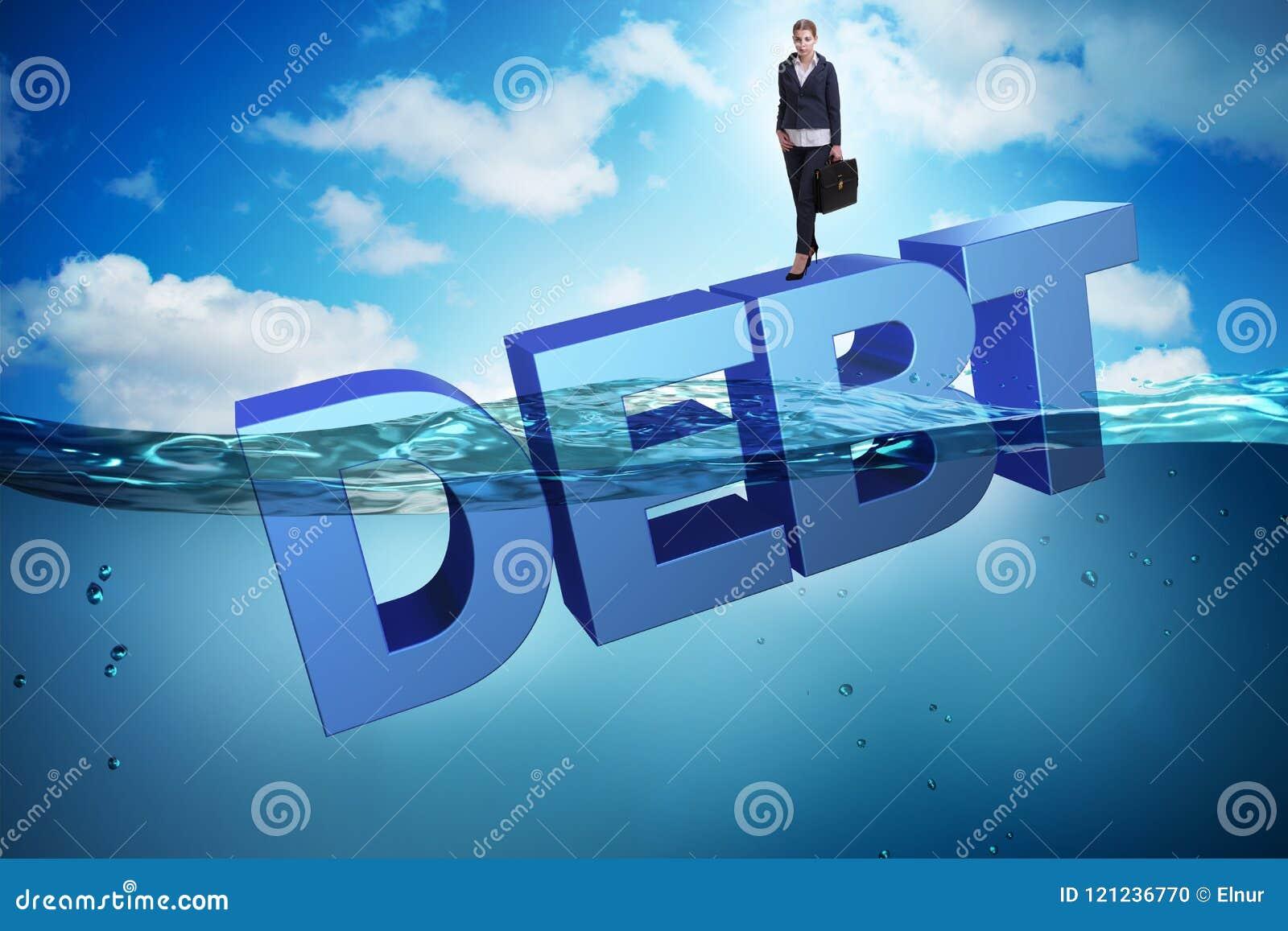 De onderneemster in schuld bedrijfsconcept