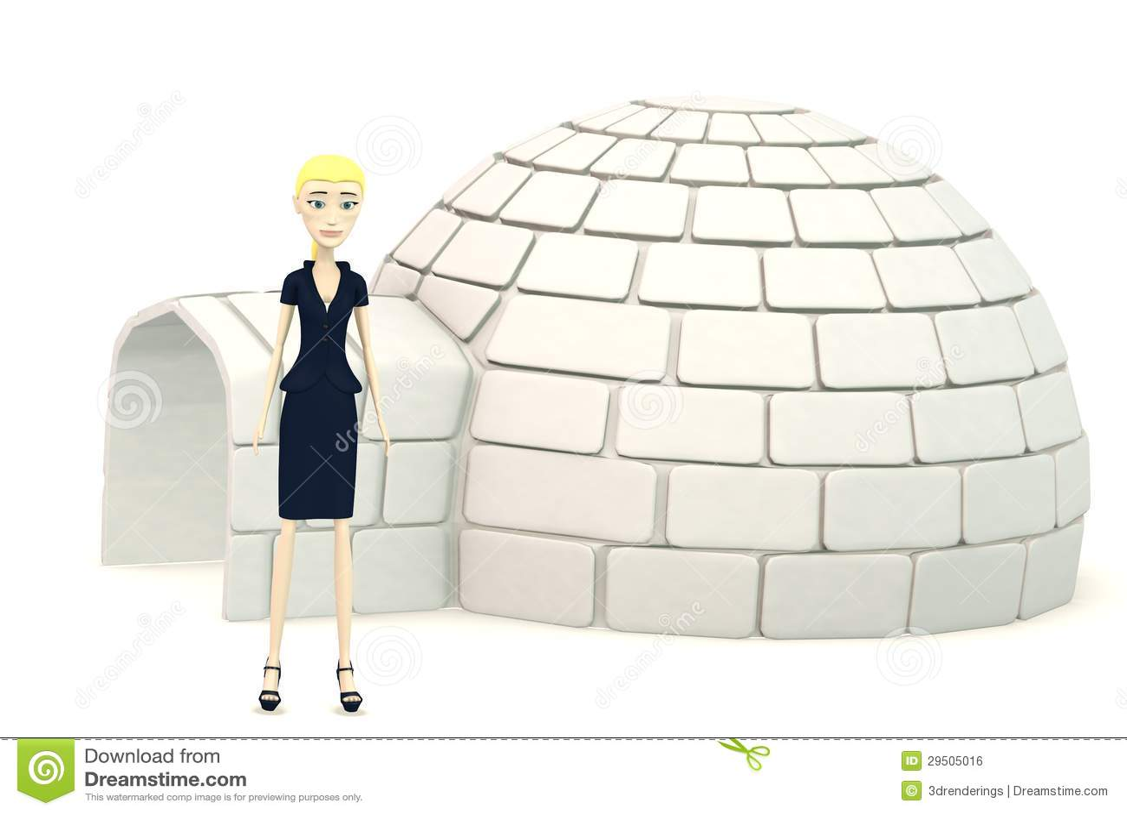 De onderneemster van het beeldverhaal met een iglo