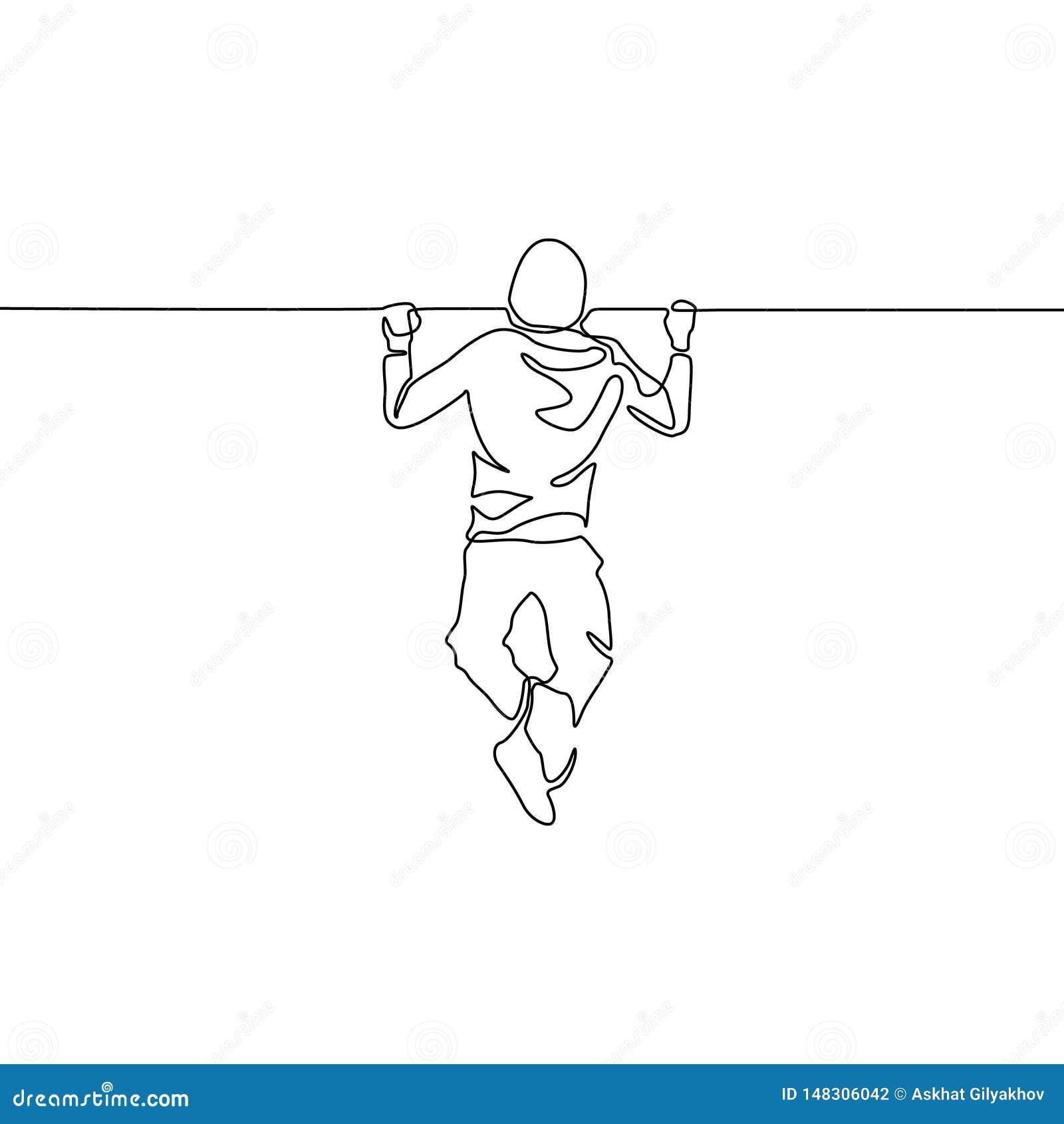 De ononderbroken lijnmens heft zich op de rekstok op Vector illustratie
