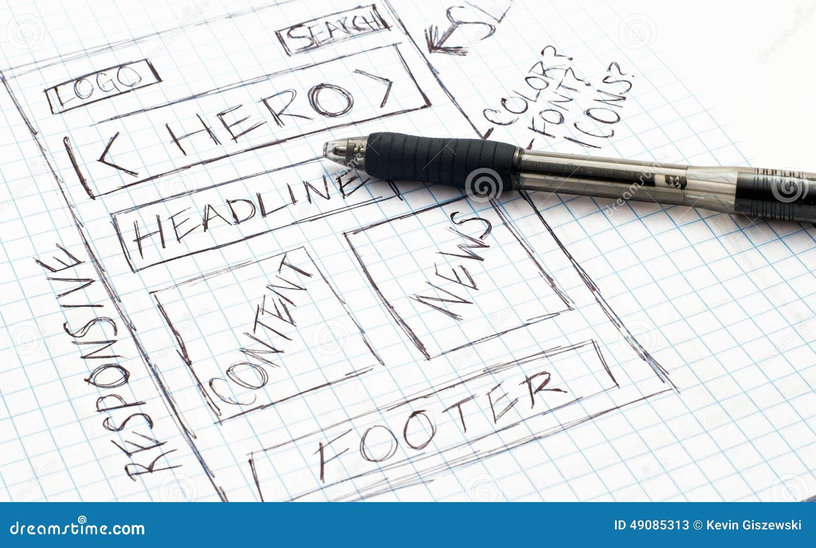 De ontvankelijke Schets van het Webontwerp