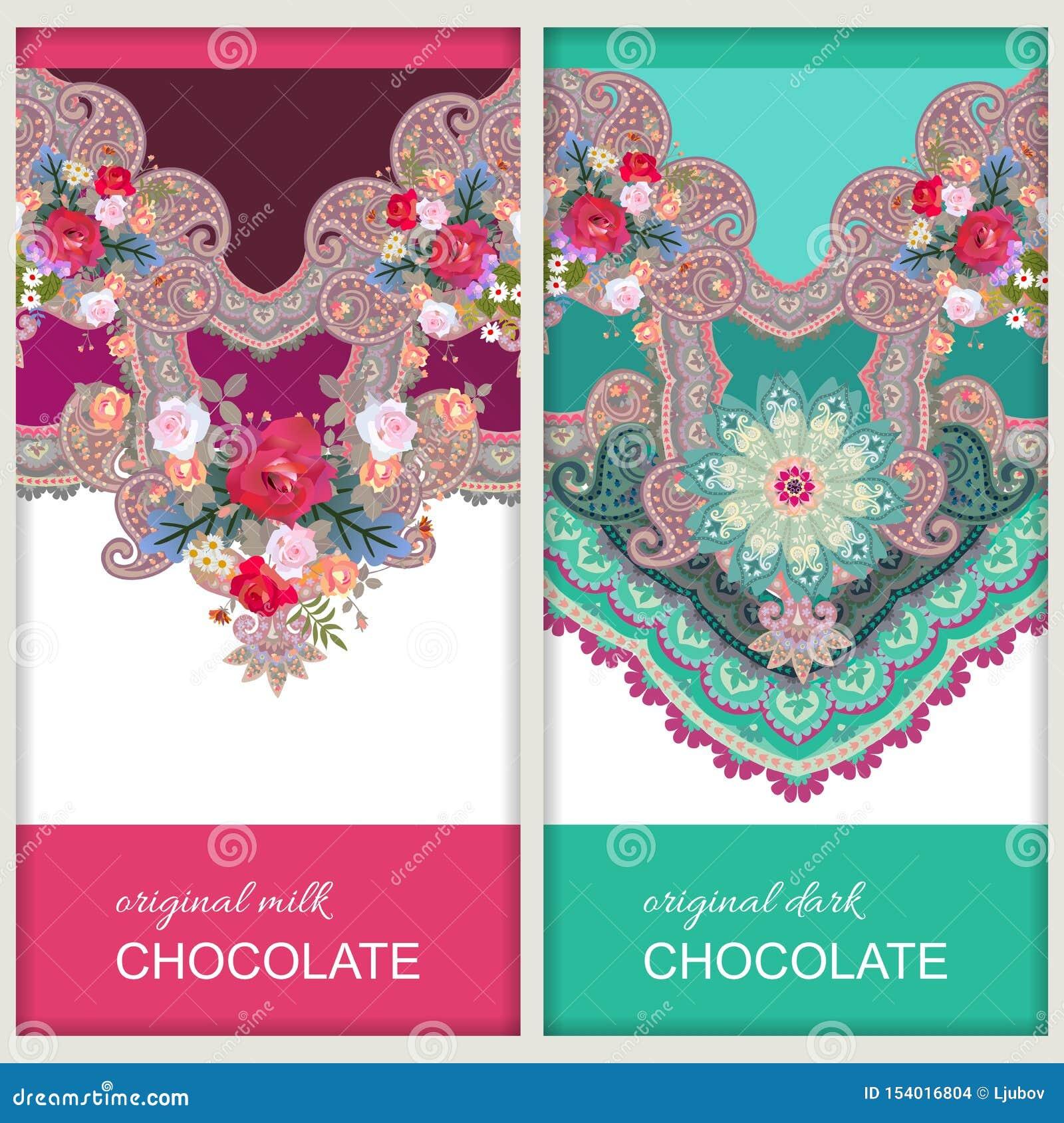 De ontwerpen van het chocoladereeppakket in etnische stijl met het bloemen en ornament van Paisley Indische, Russische motieven D