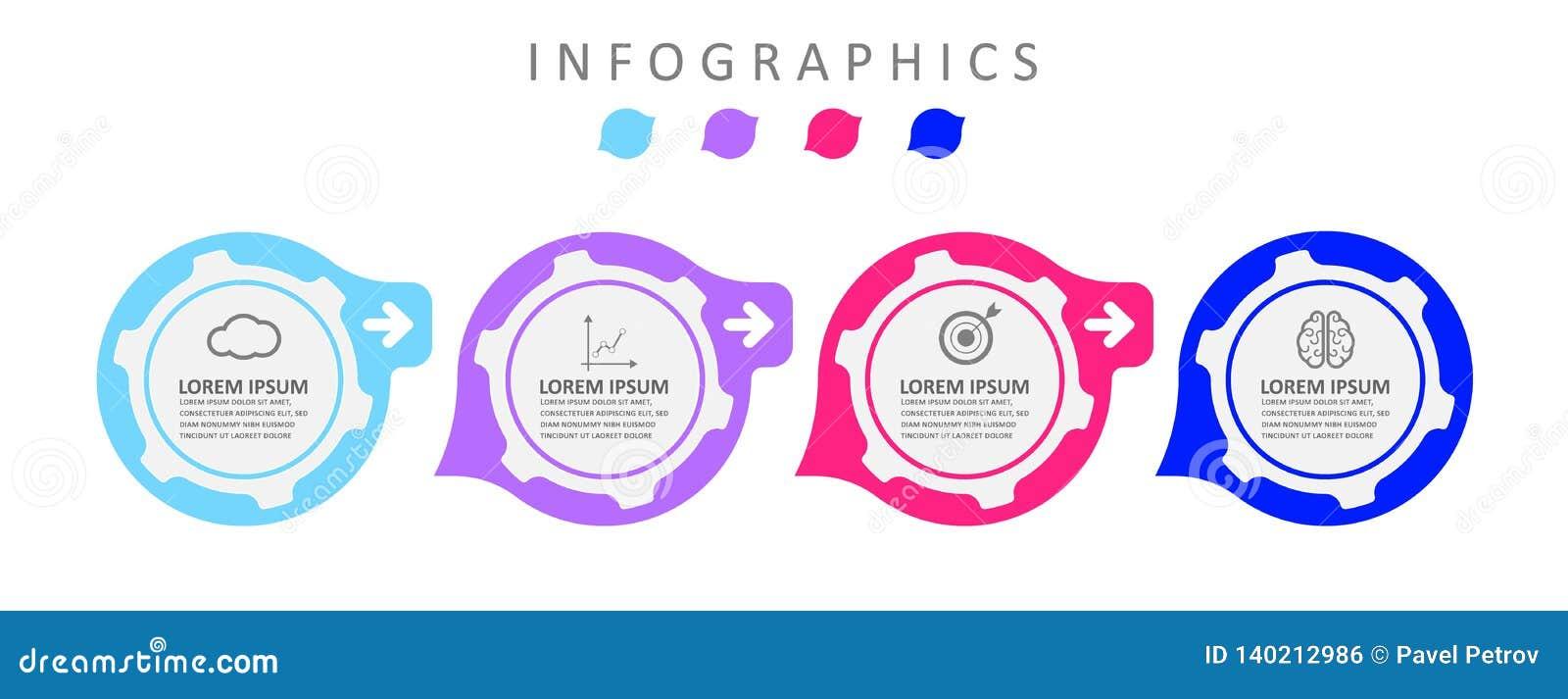 De ontwerpsjabloon van het Infographicetiket met pictogrammen De bedrijfsgegevensvisualisatie kan voor procesdiagram, presentatie