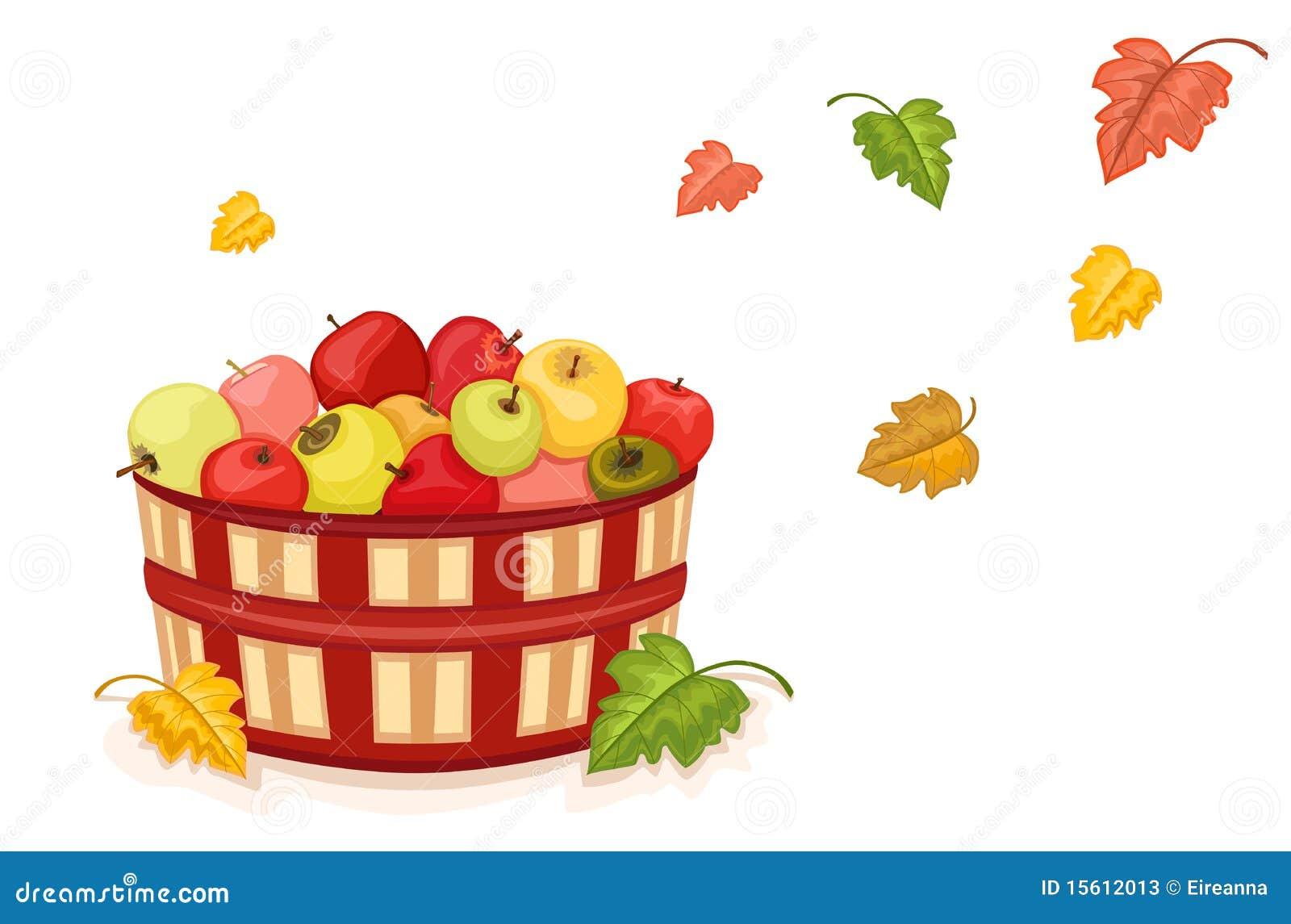 De oogst van de herfst met appelen in mand