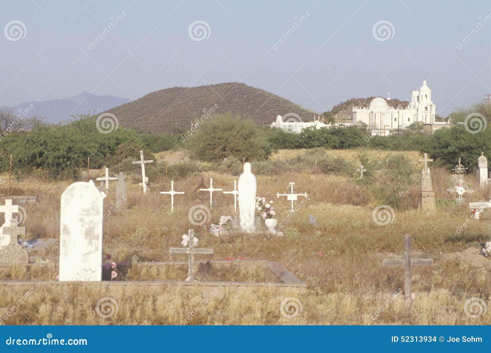 De Opdrachtsan Xavier begraafplaats werd opgericht tussen 1783 en 1897 in Tucson Arizona